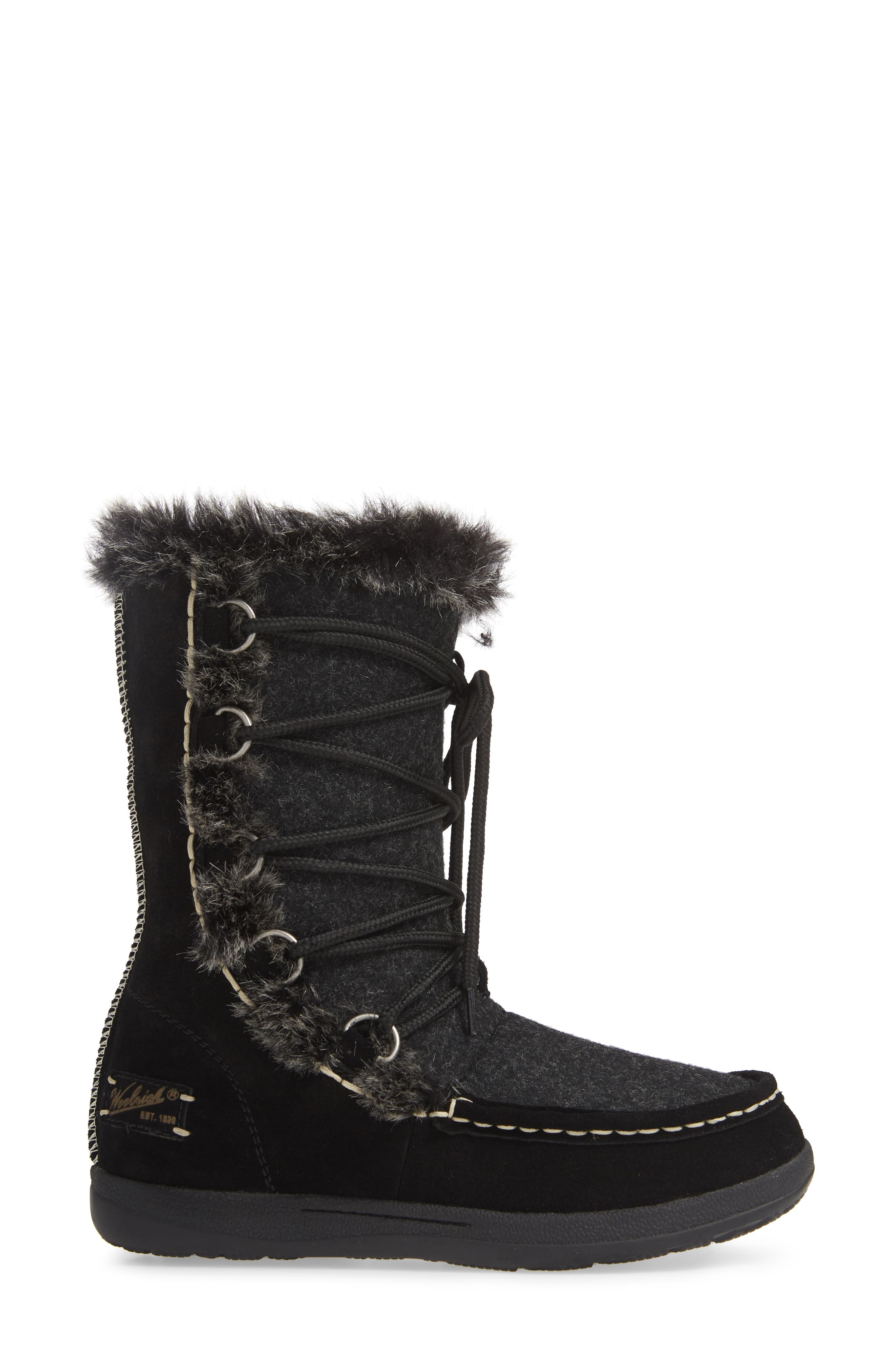 Lace Up Bootie,                             Alternate thumbnail 3, color,                             BLACK WOOL