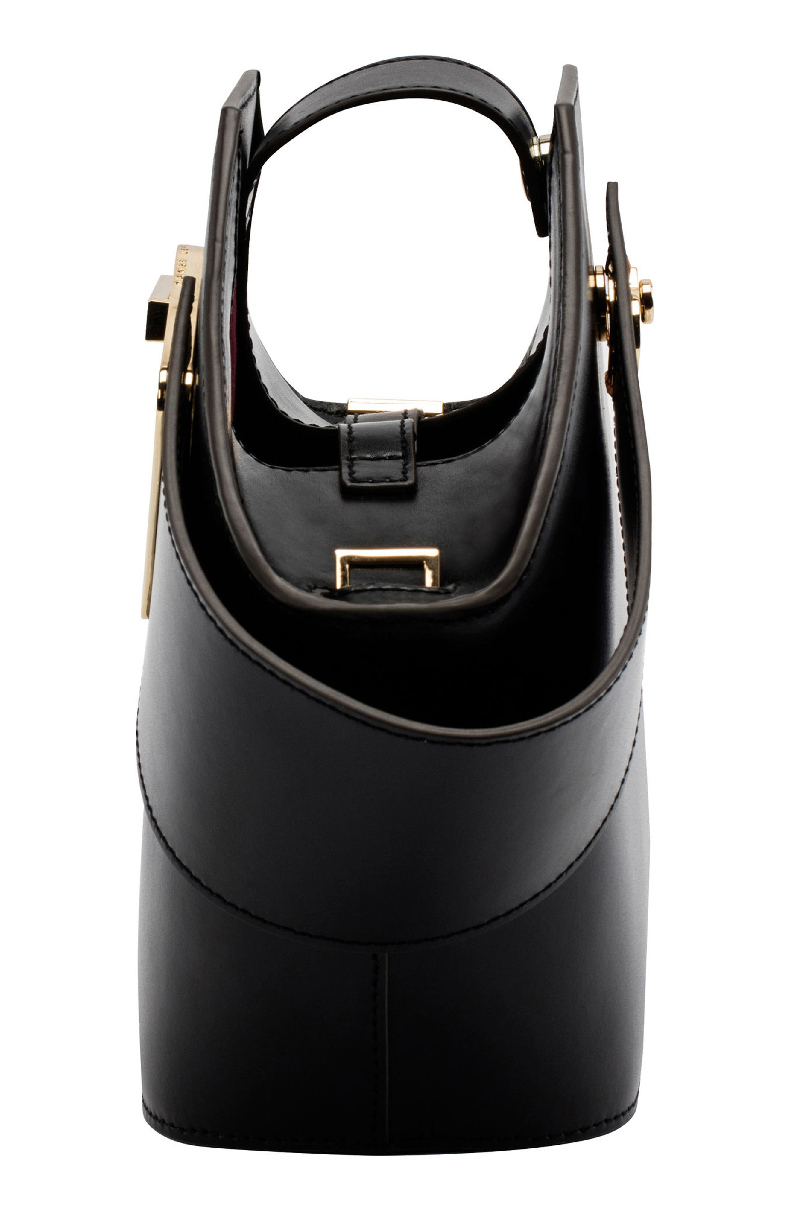 Mini Johnny Leather Bucket Bag,                             Alternate thumbnail 8, color,                             BLACK