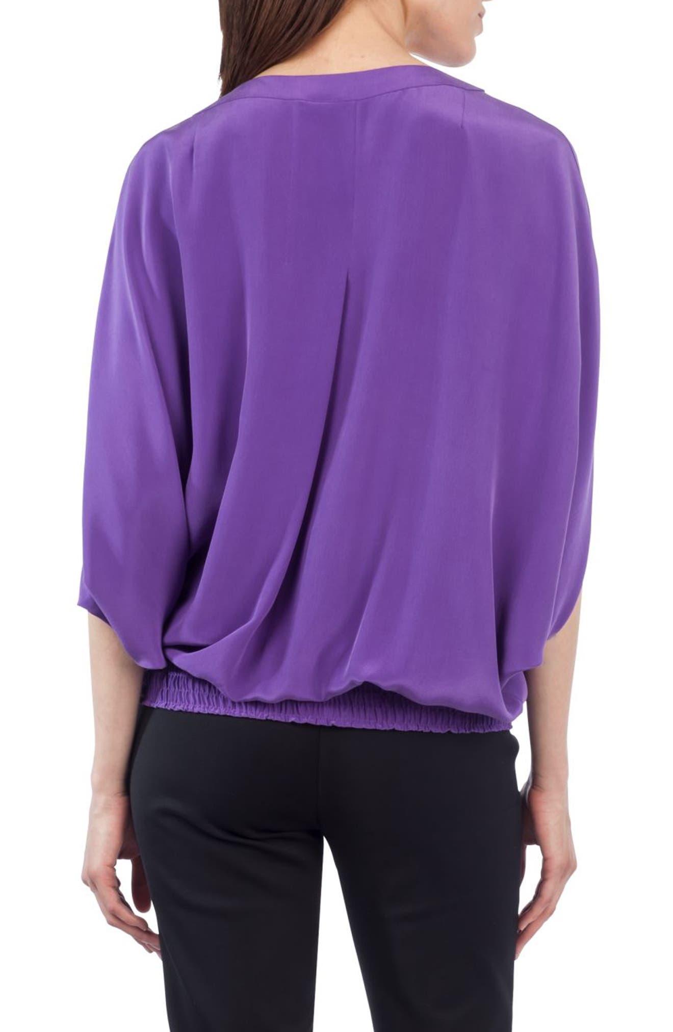 Batwing Silk Blouse,                             Alternate thumbnail 2, color,                             500