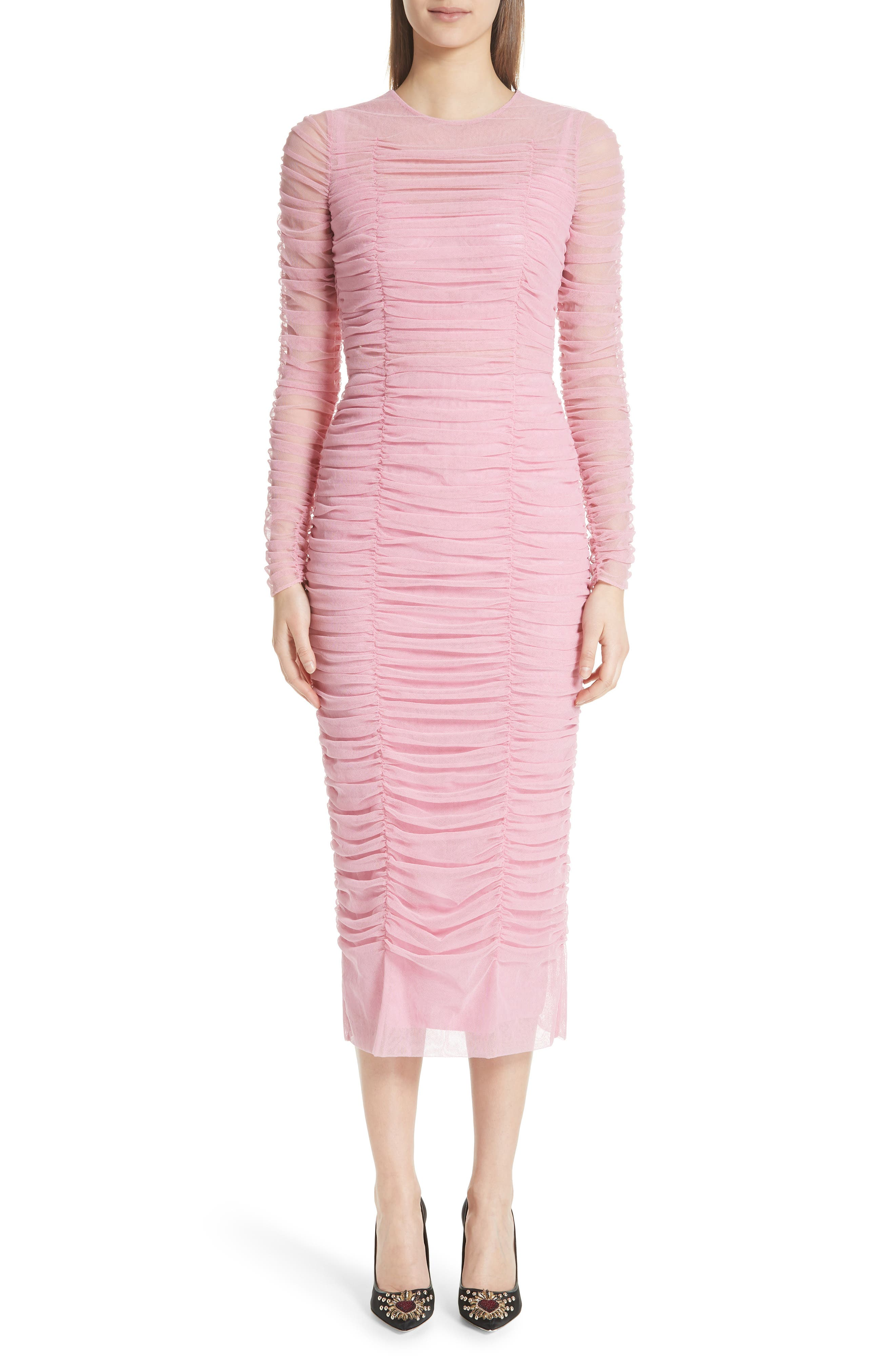 Ruched Tulle Body-Con Dress,                         Main,                         color, ROSA