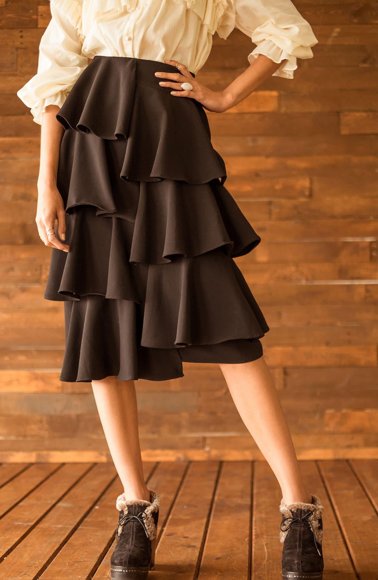 Tiered Ruffle Midi Skirt,                             Alternate thumbnail 8, color,                             001