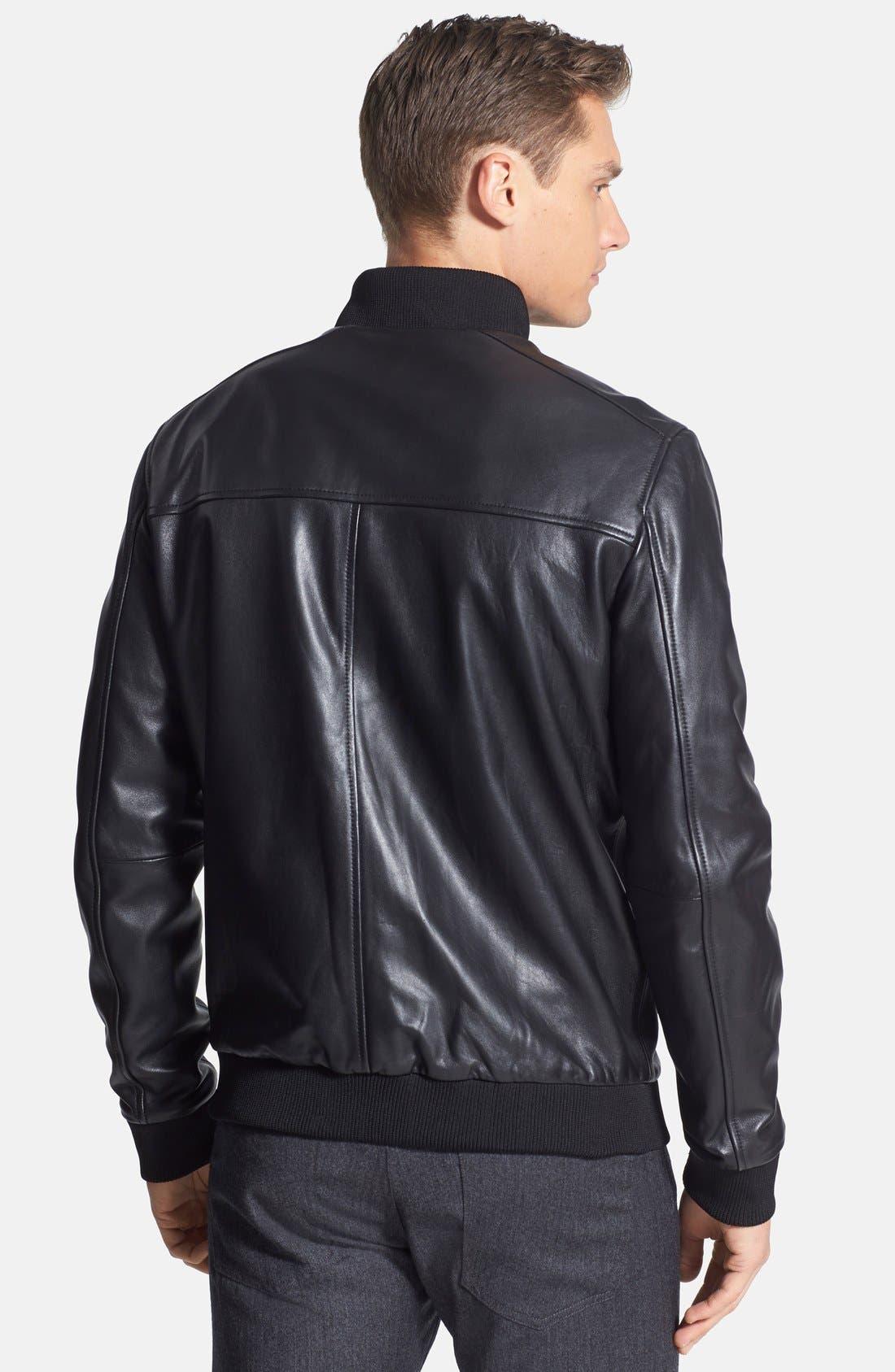 'Bane' Sheepskin Leather Jacket,                             Alternate thumbnail 4, color,                             001