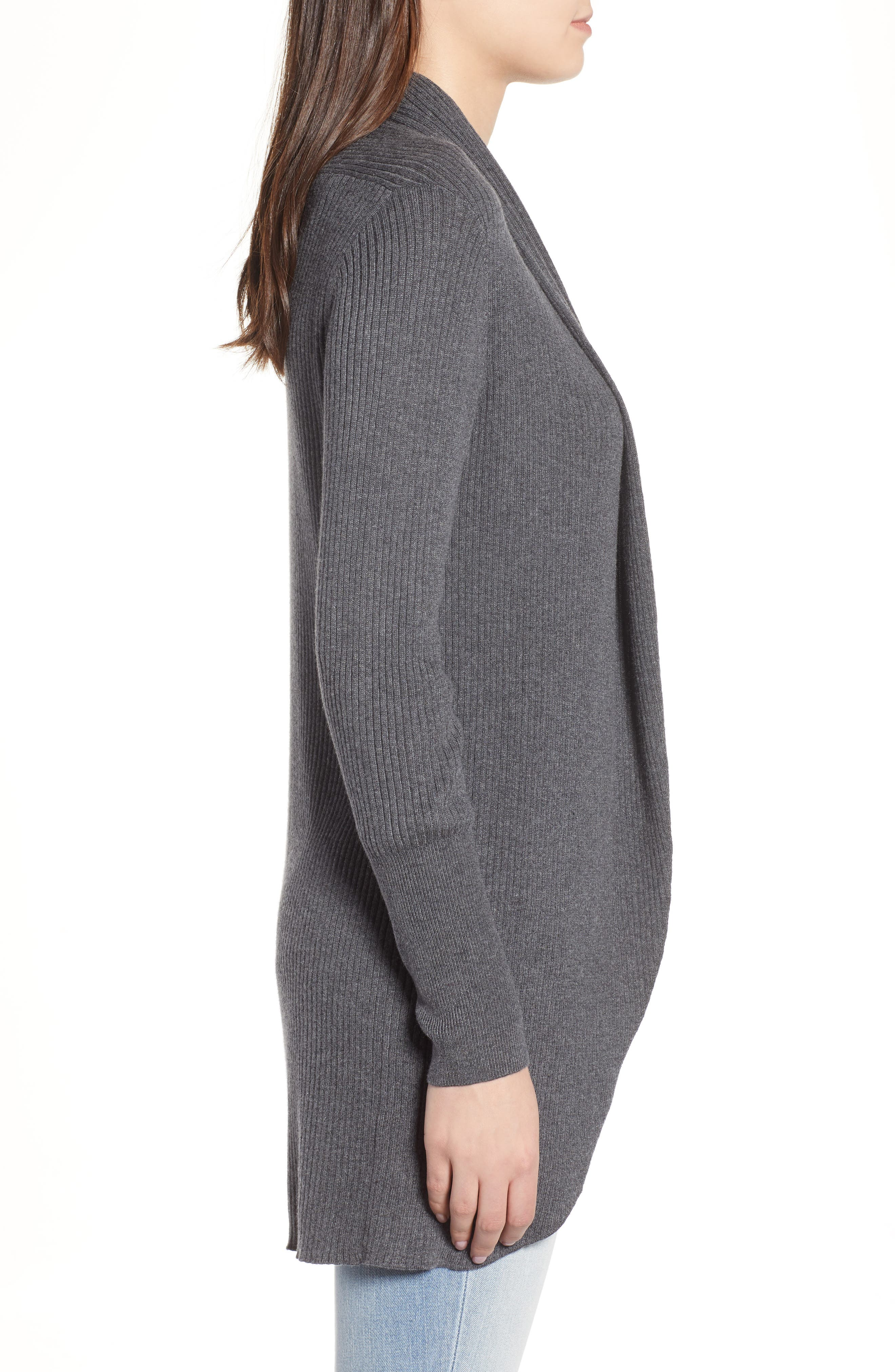 Ribbed Shawl Cocoon Sweater,                             Alternate thumbnail 3, color,                             GREY MEDIUM CHARCOAL HEATHER