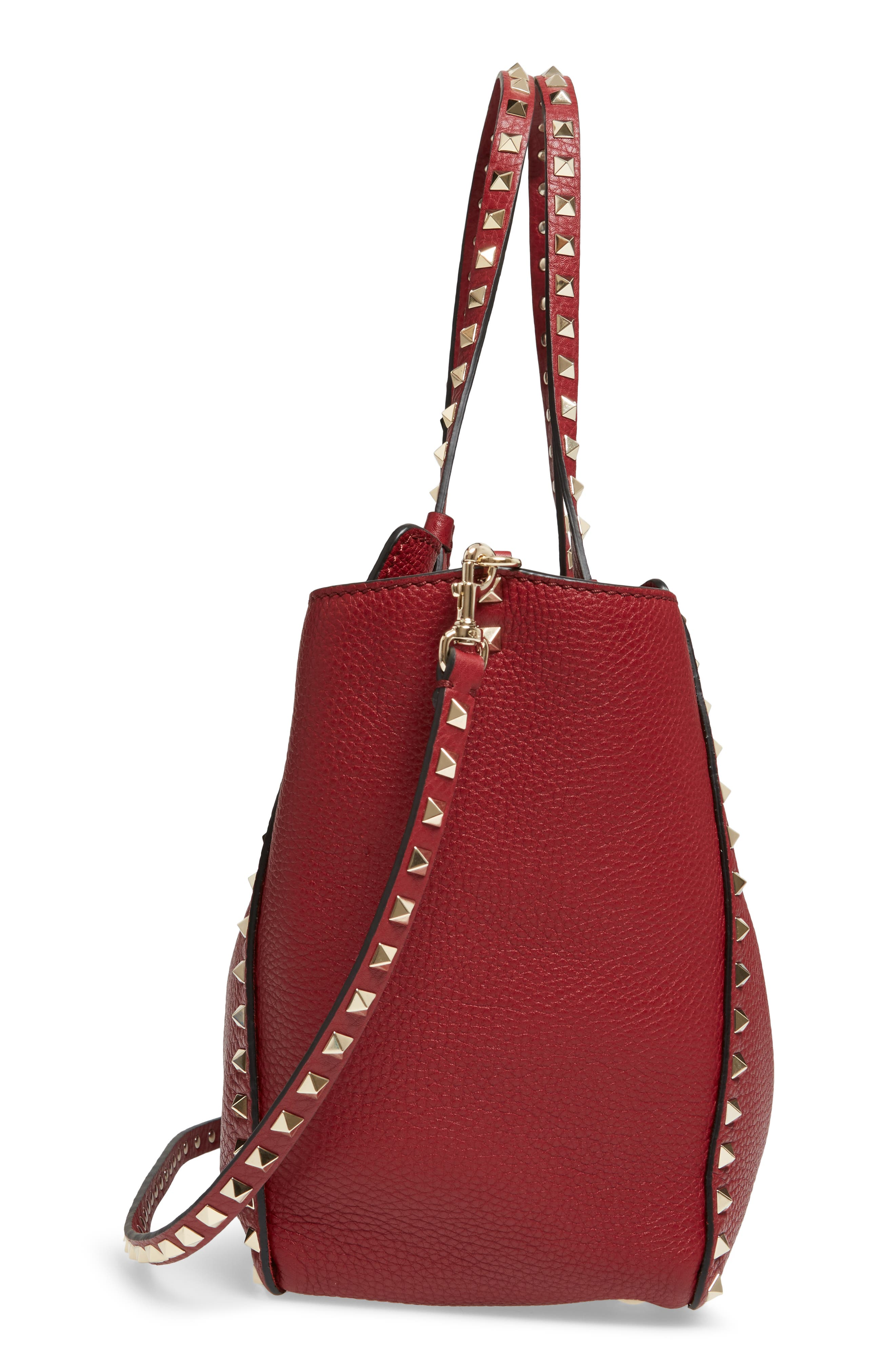 Medium Rockstud Grained Calfskin Leather Tote,                             Alternate thumbnail 5, color,                             930