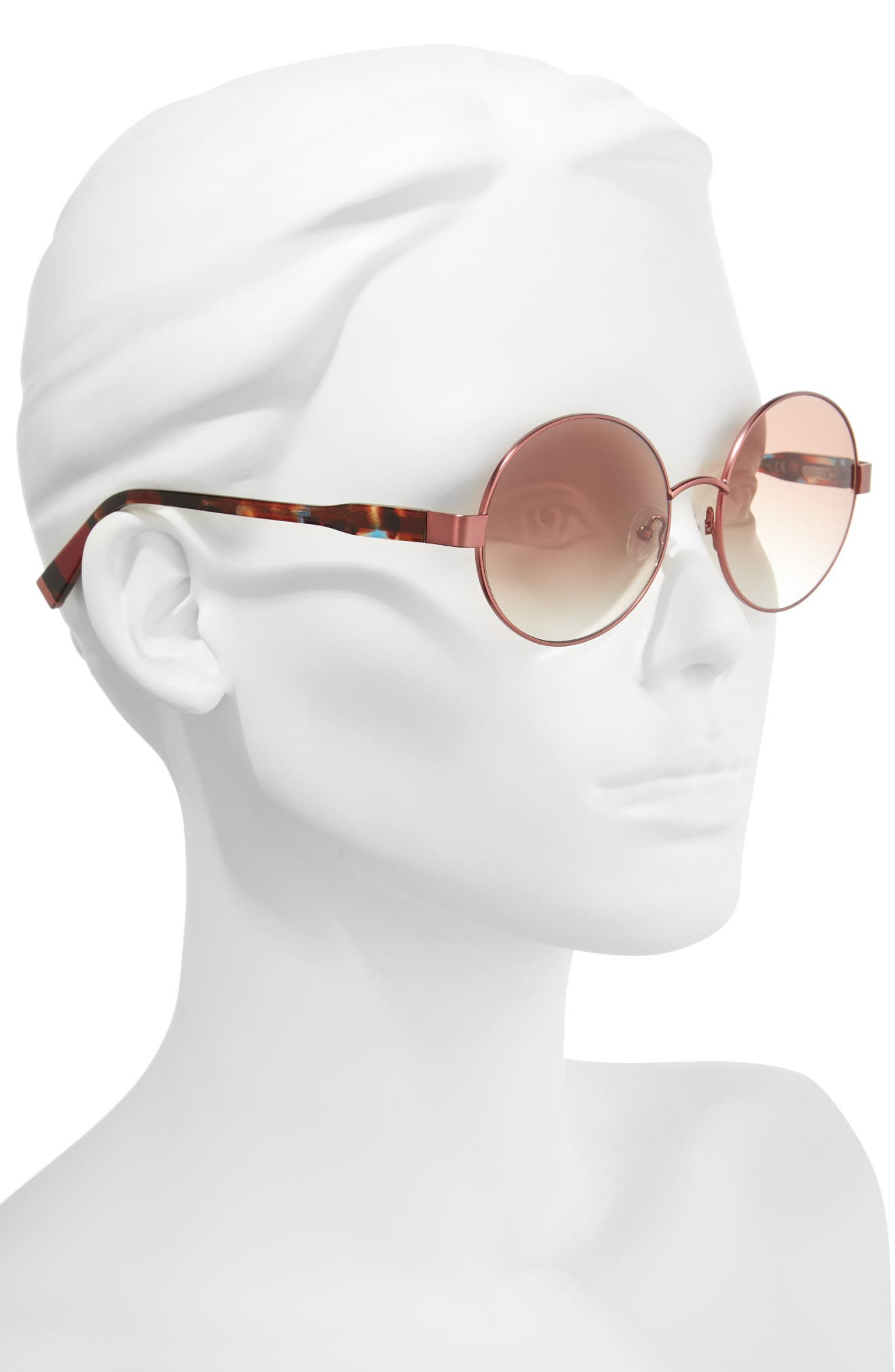 53mm Round Sunglasses,                             Alternate thumbnail 2, color,                             MATTE BERRY