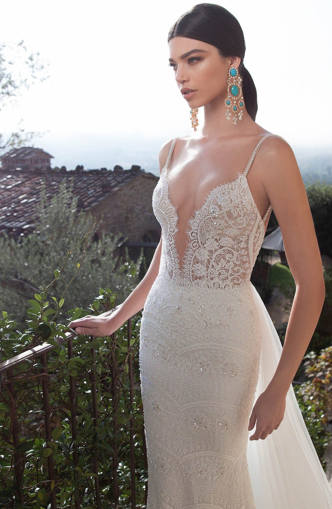 Embellished Lace Column Gown with Detachable Train,                             Alternate thumbnail 2, color,                             IVORY