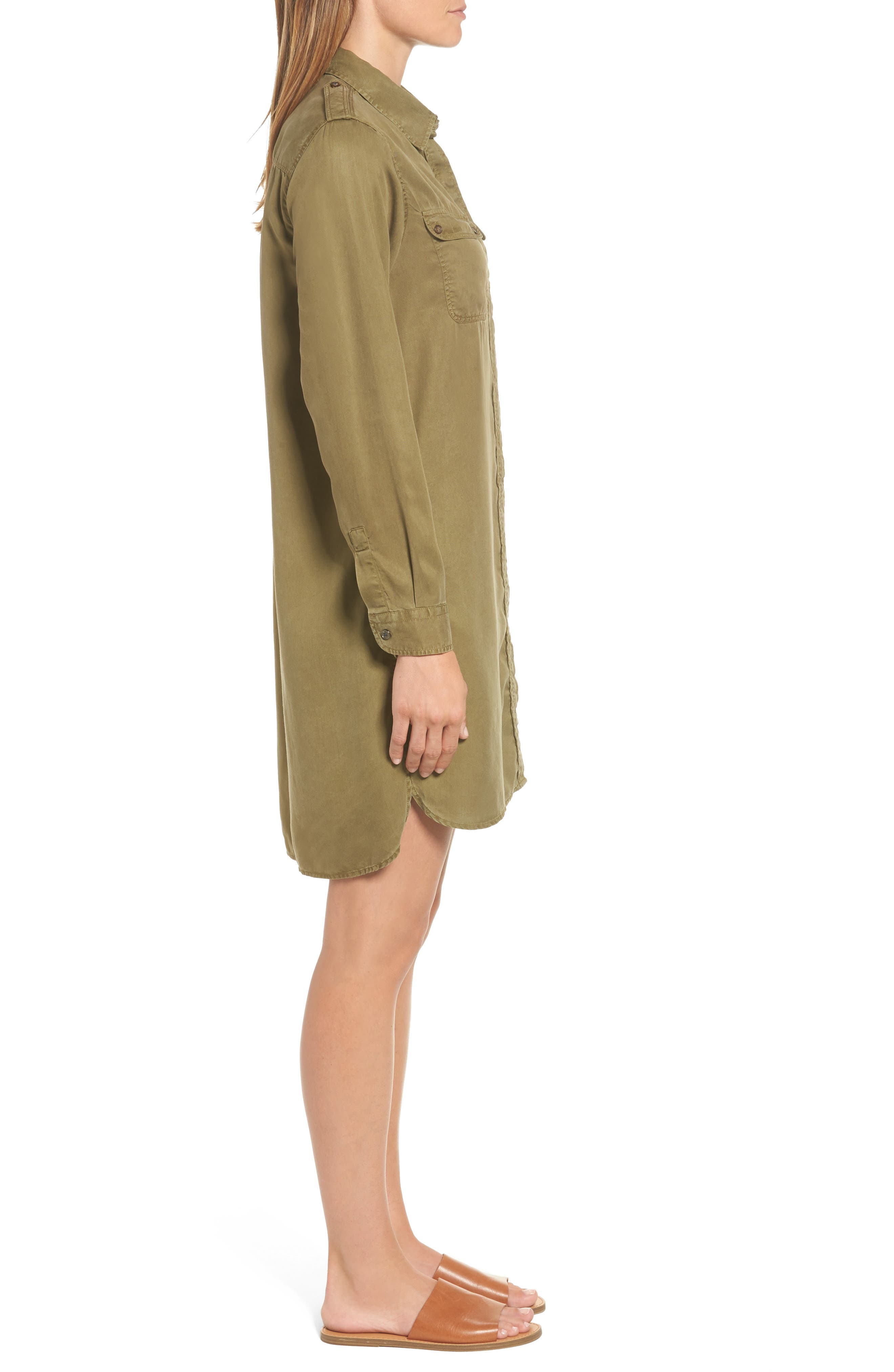 Langley Military Twill Dress,                             Alternate thumbnail 3, color,