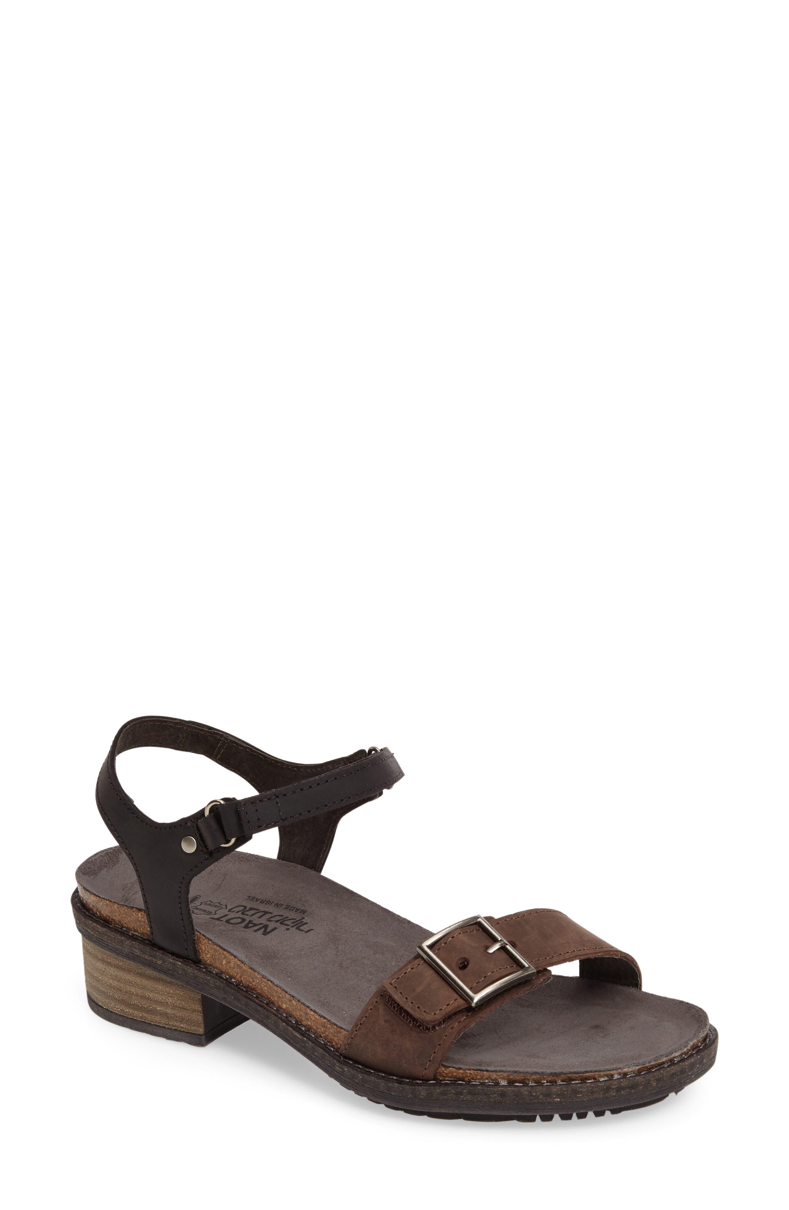 Boho Sandal,                         Main,                         color, BROWN/ BLACK LEATHER