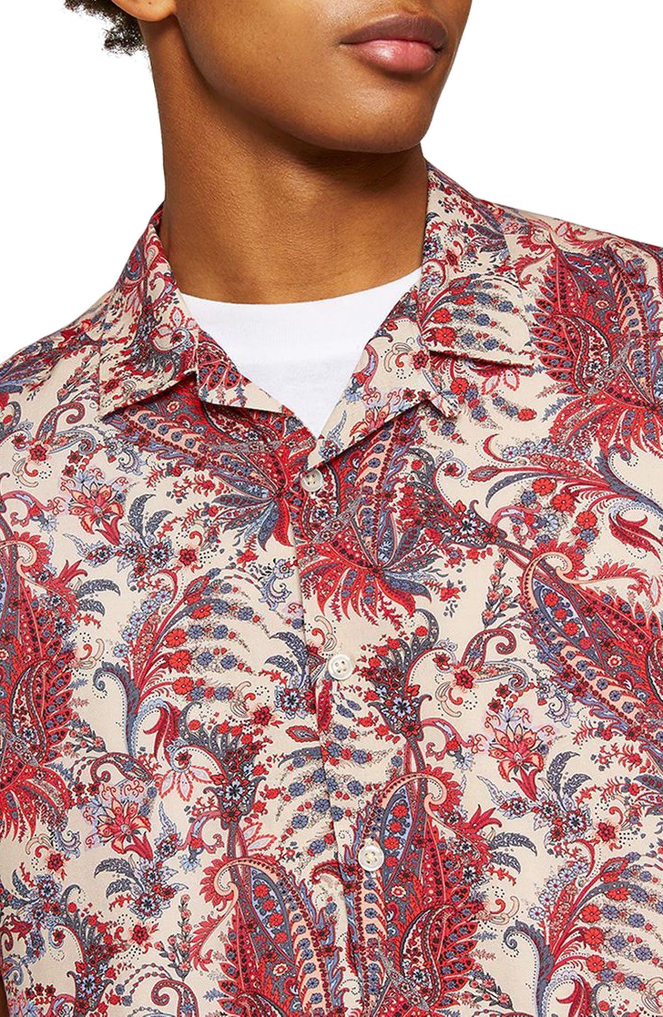 Paisley Camp Shirt,                             Alternate thumbnail 3, color,                             PINK MULTI