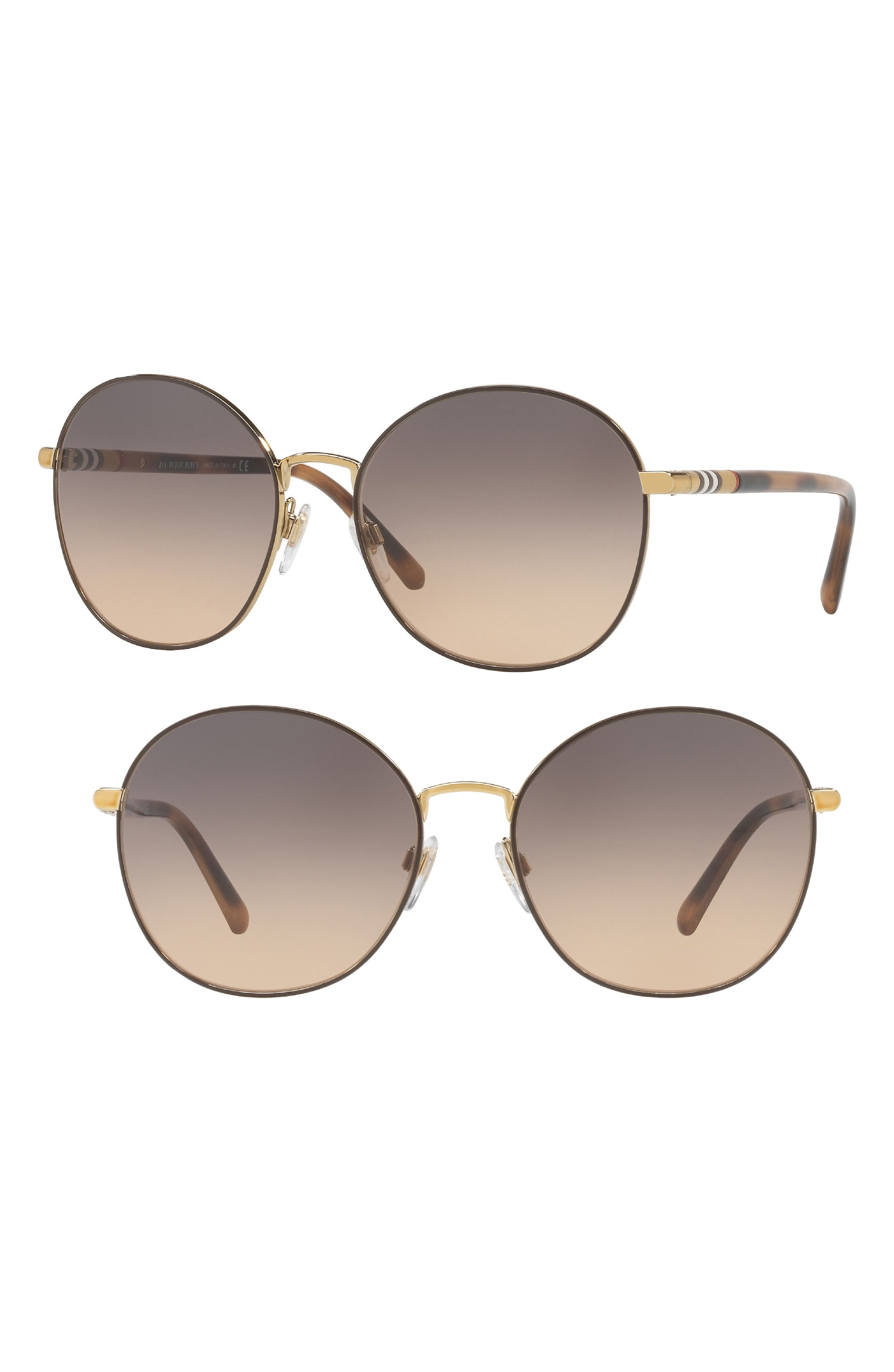 56mm Gradient Round Sunglasses,                         Main,                         color, PALE GOLD