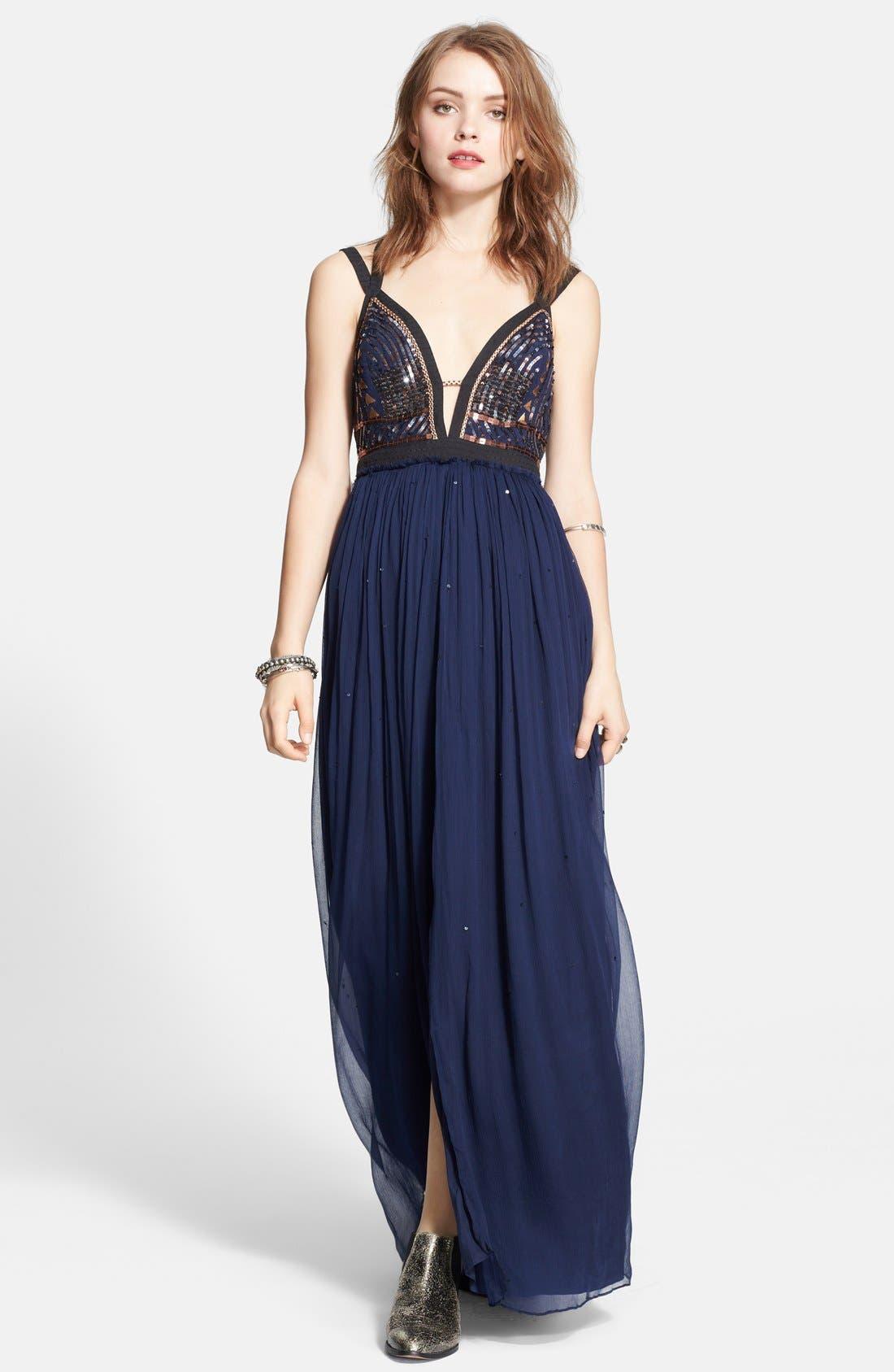 Embellished Chiffon Maxi Dress,                             Main thumbnail 1, color,                             409