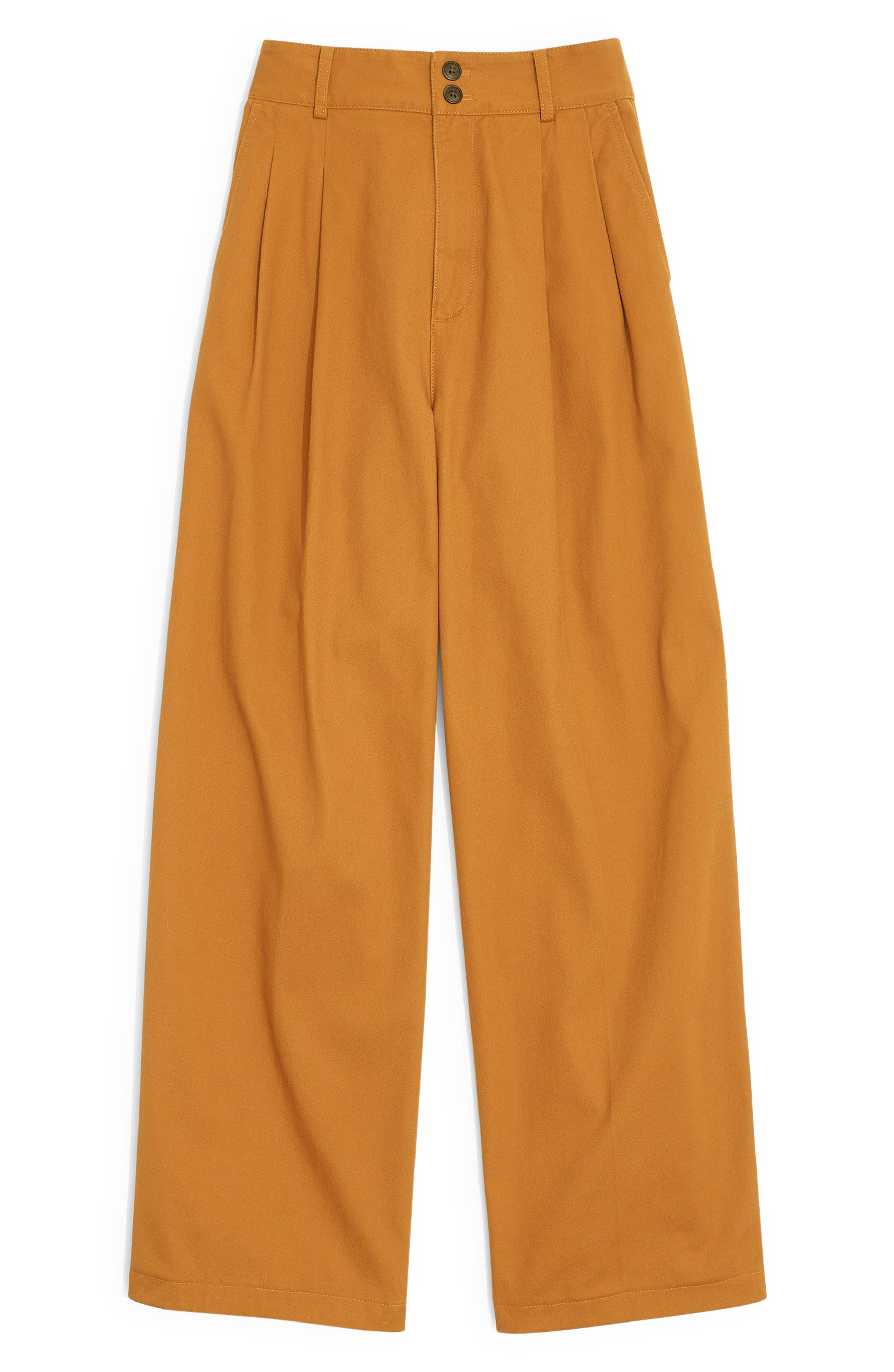 High Waist Crop Wide Leg Pants,                             Alternate thumbnail 4, color,                             GOLDEN PECAN