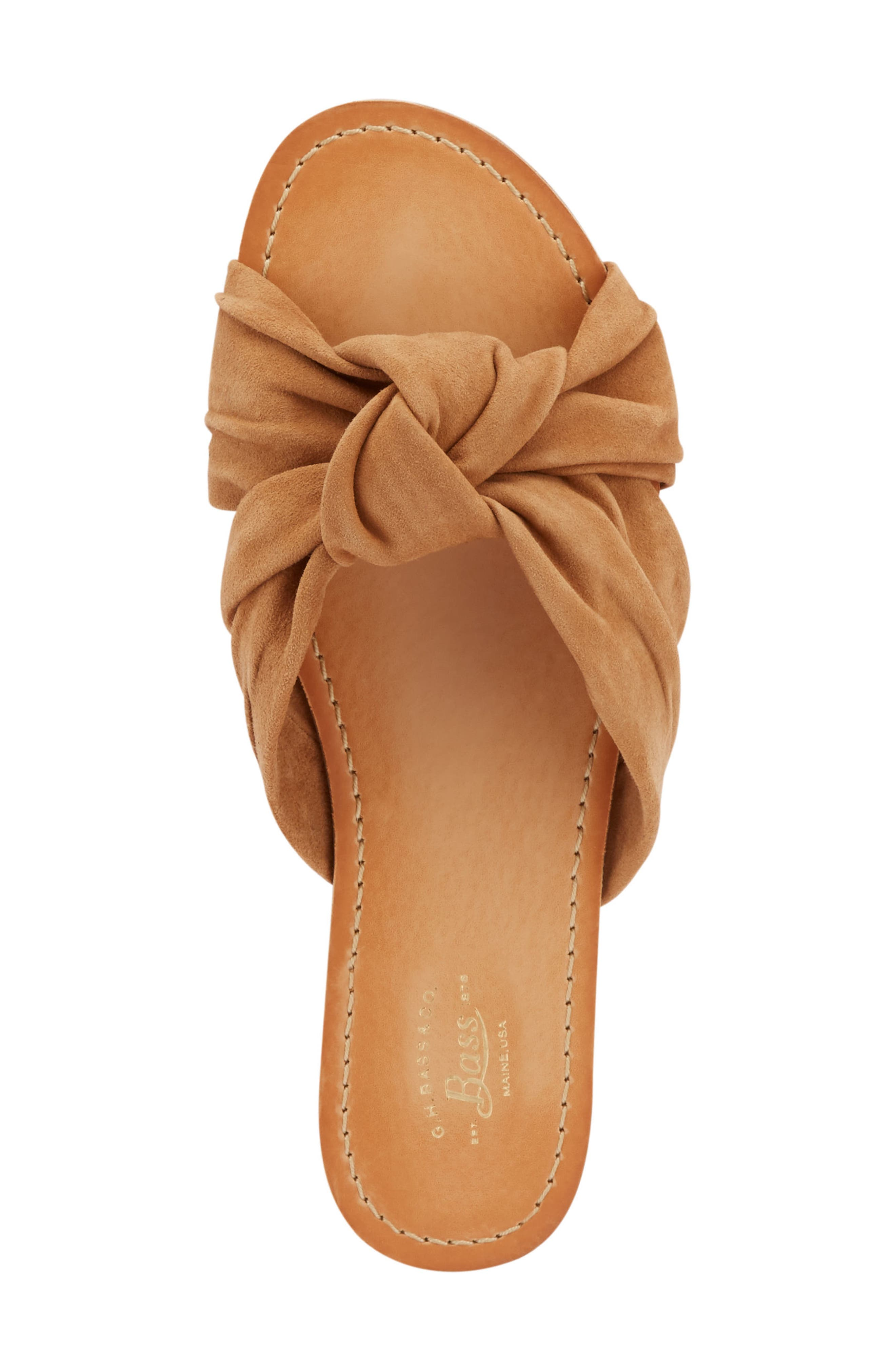 Sophie Knotted Bow Sandal,                             Alternate thumbnail 5, color,                             TAN SUEDE