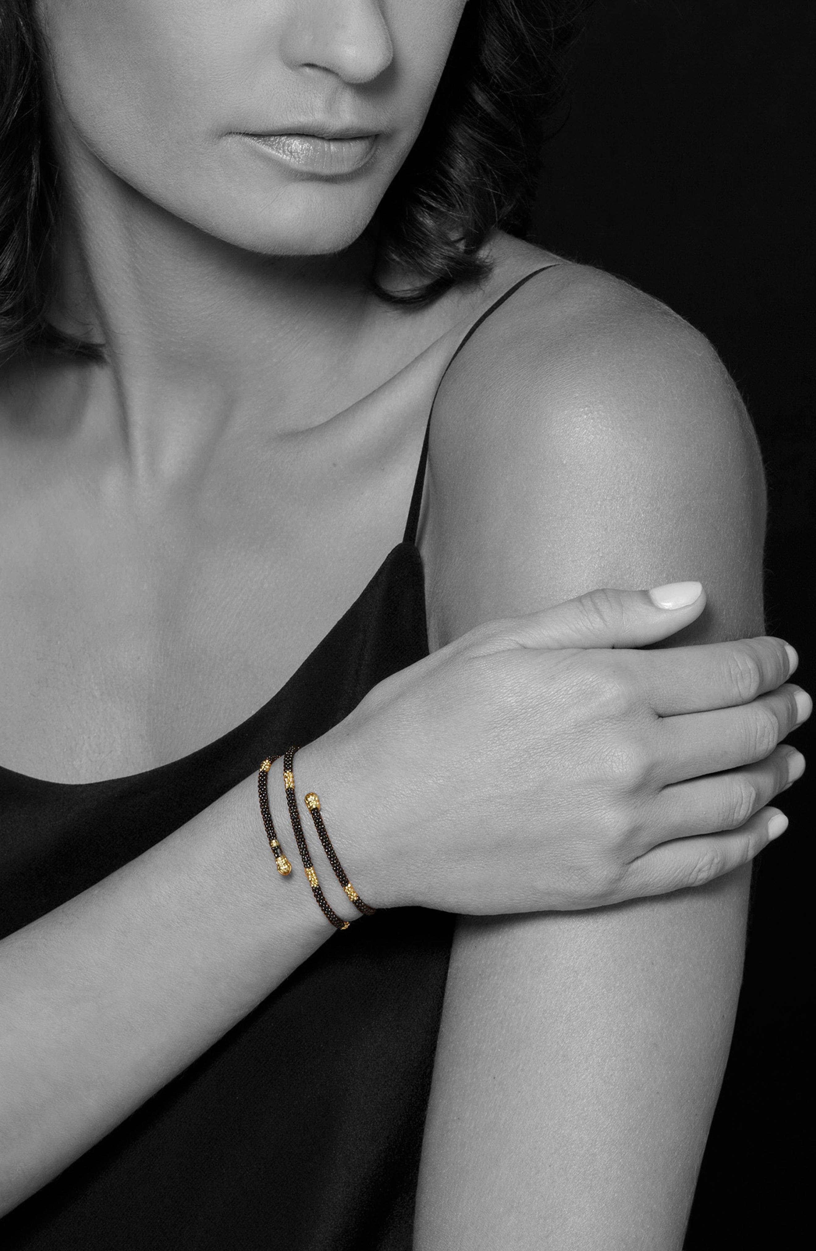 Gold & Black Caviar Coil Bracelet,                             Alternate thumbnail 2, color,                             GOLD