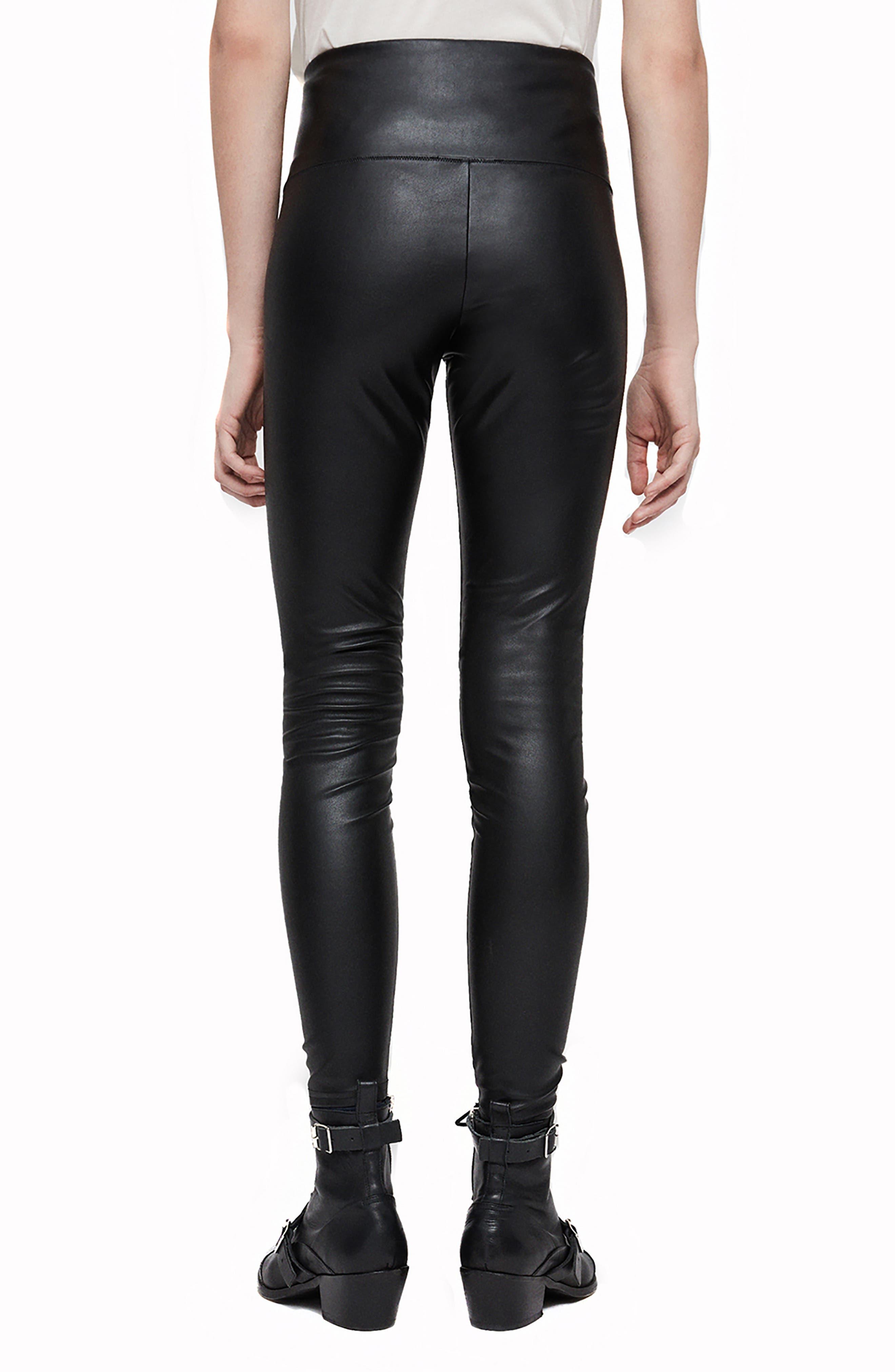 Cora Faux Leather Leggings,                             Alternate thumbnail 2, color,                             BLACK