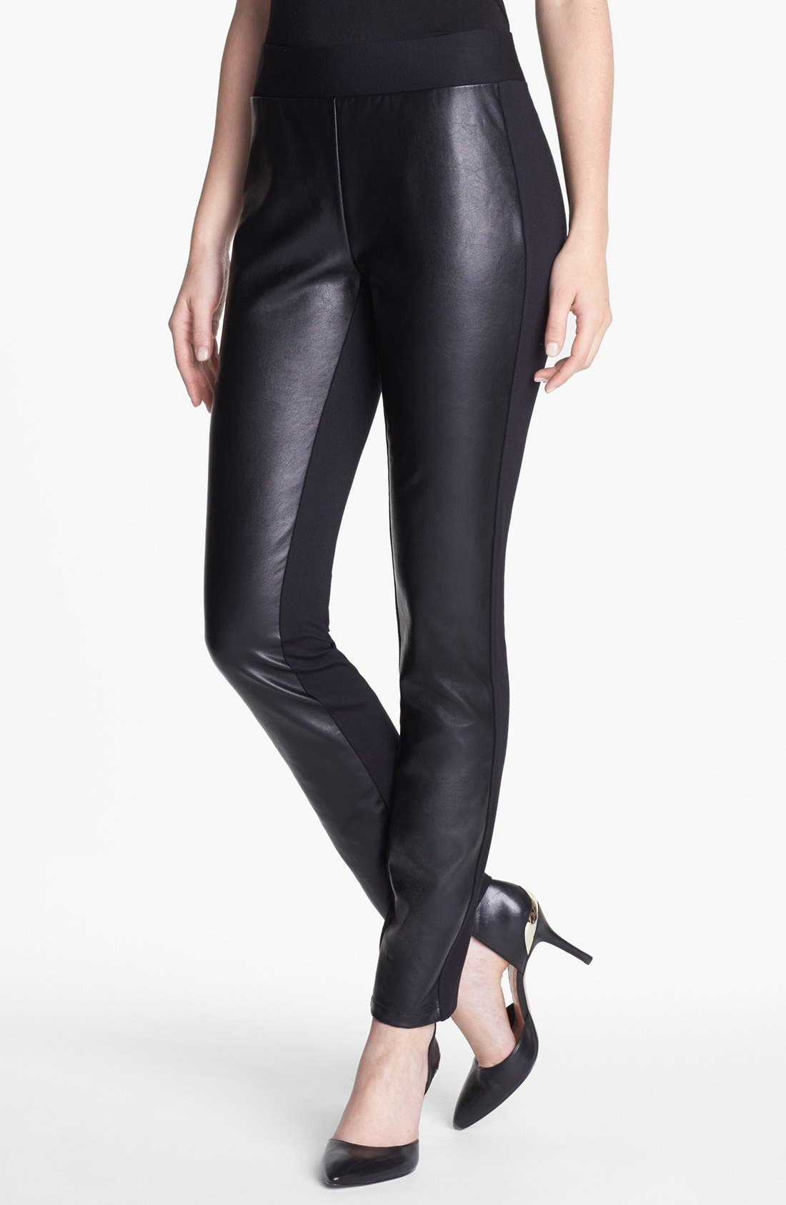 Faux Leather & Stretch Ponte Leggings, Main, color, 001