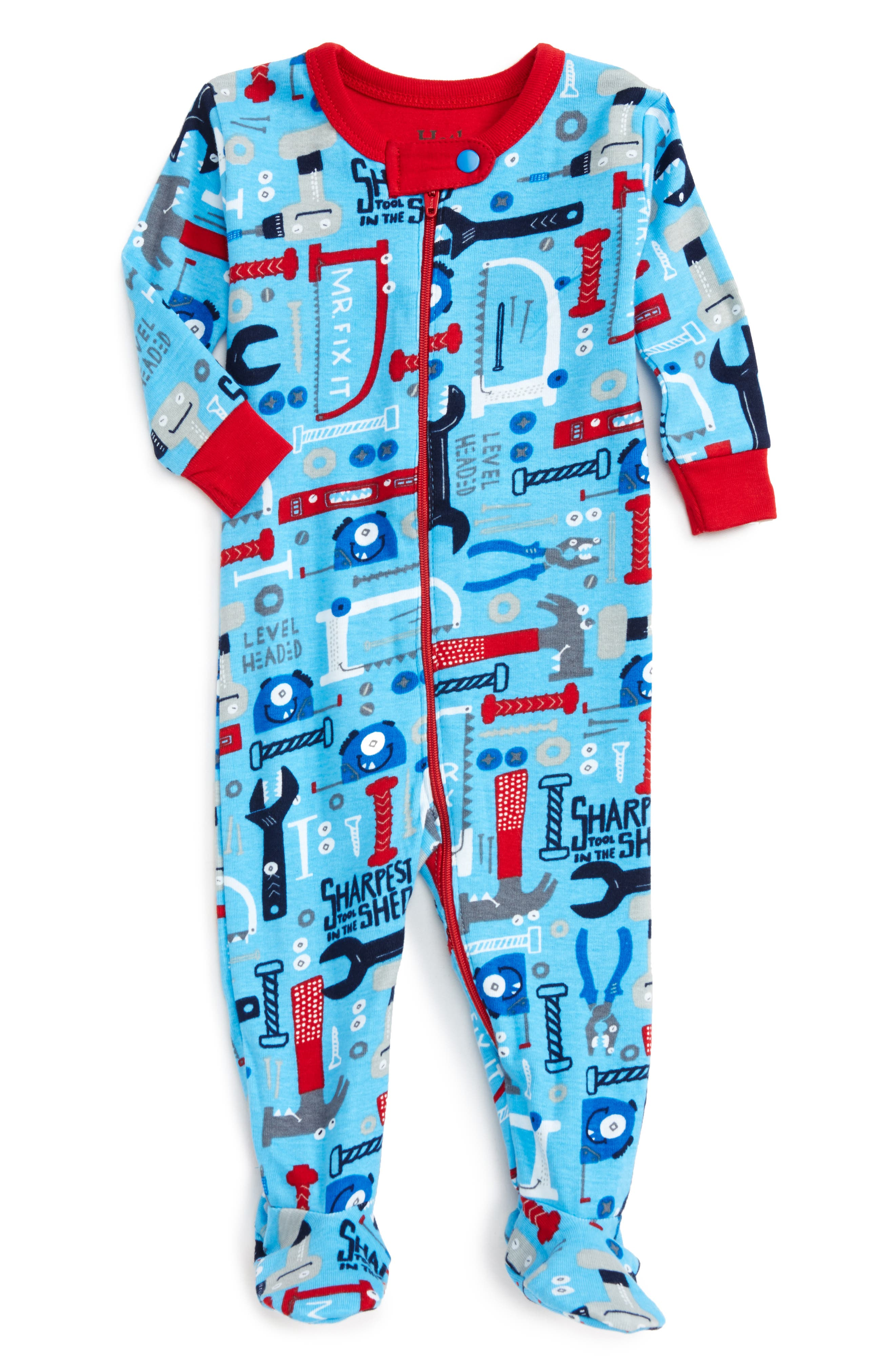 Organic Cotton Fitted One-Piece Footie Pajamas,                             Main thumbnail 1, color,