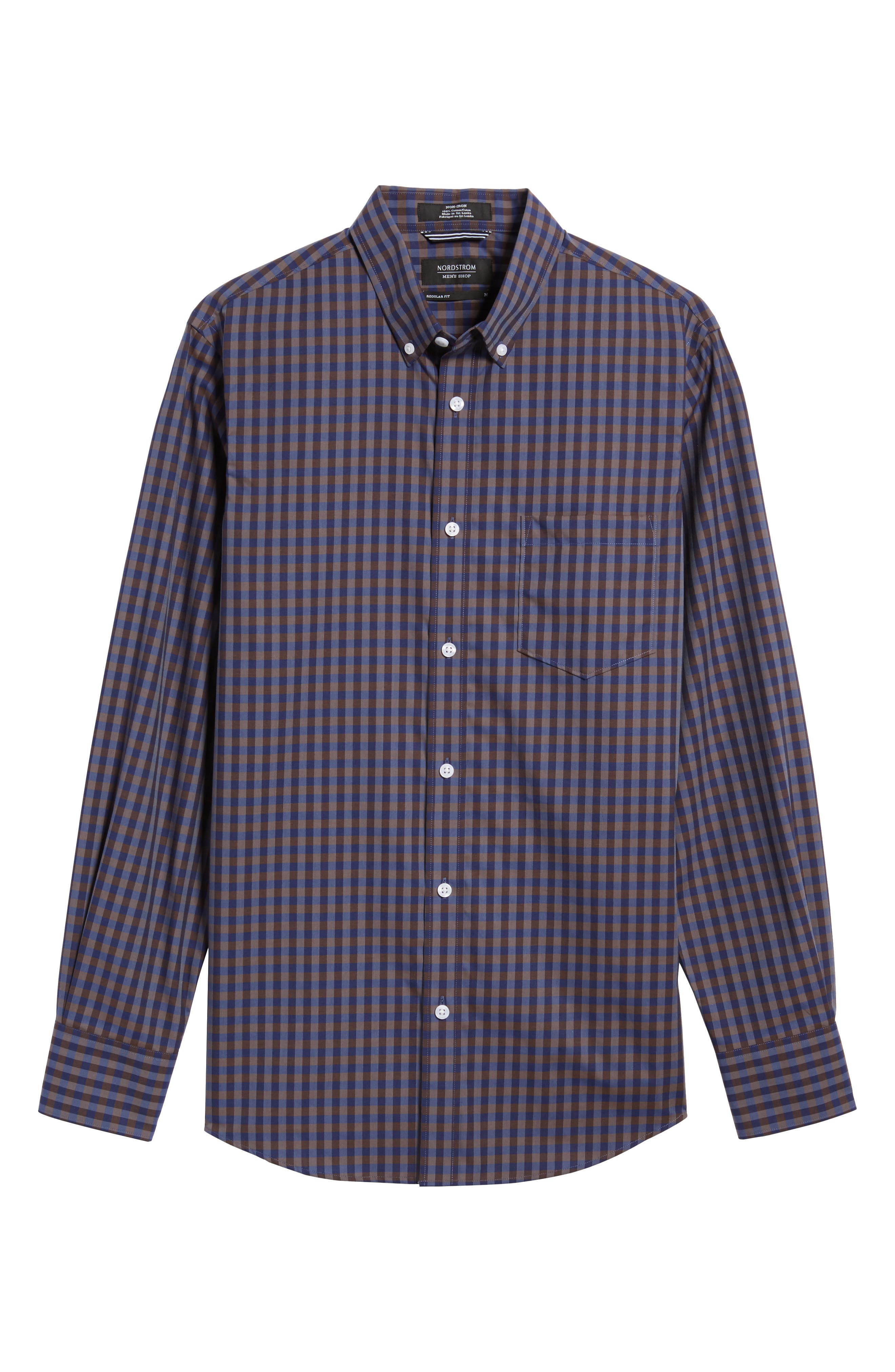 Regular Fit Non-Iron Check Sport Shirt,                             Alternate thumbnail 6, color,