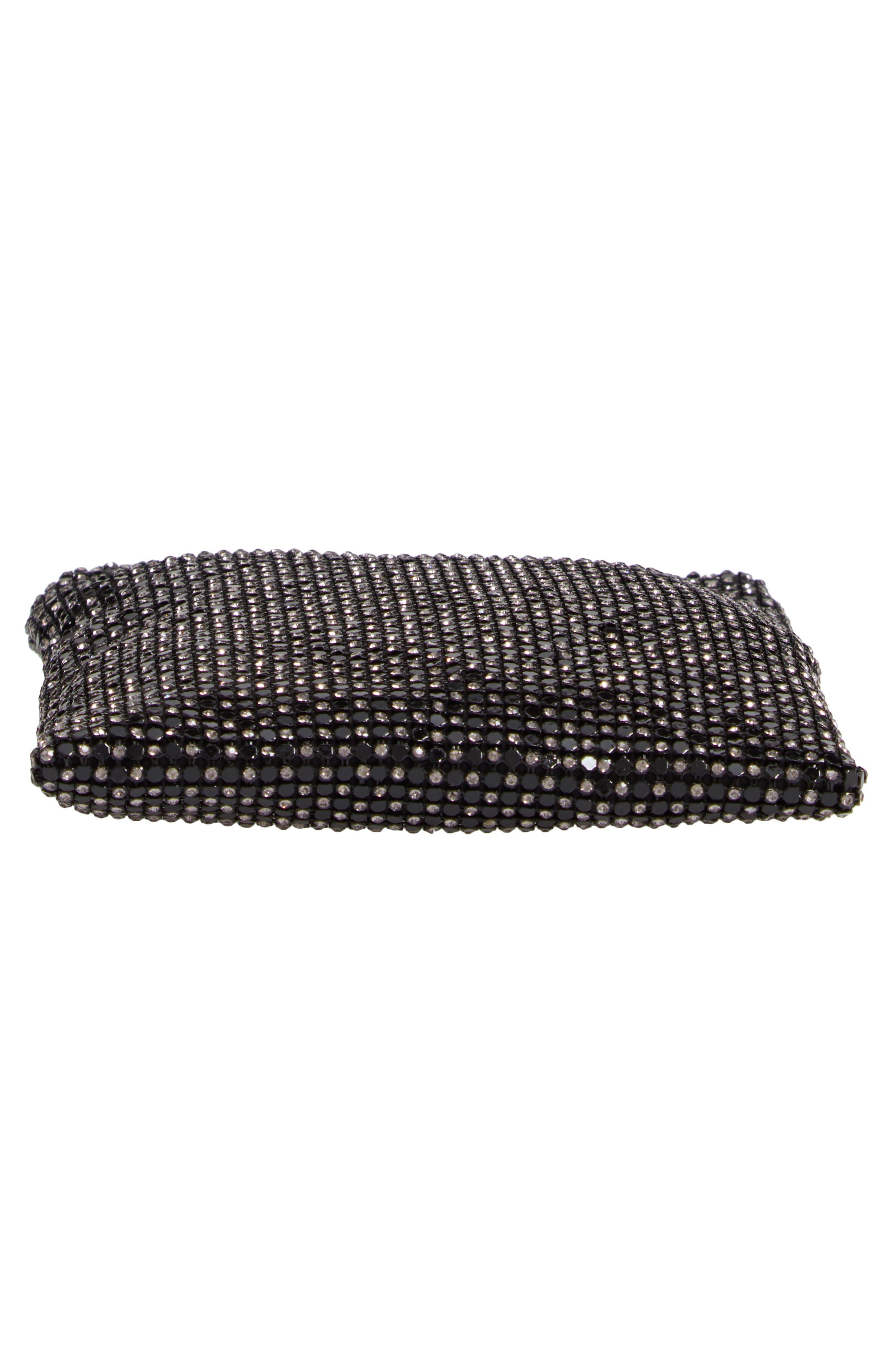 Crystal Mesh Crossbody Bag,                             Alternate thumbnail 6, color,                             BLACK