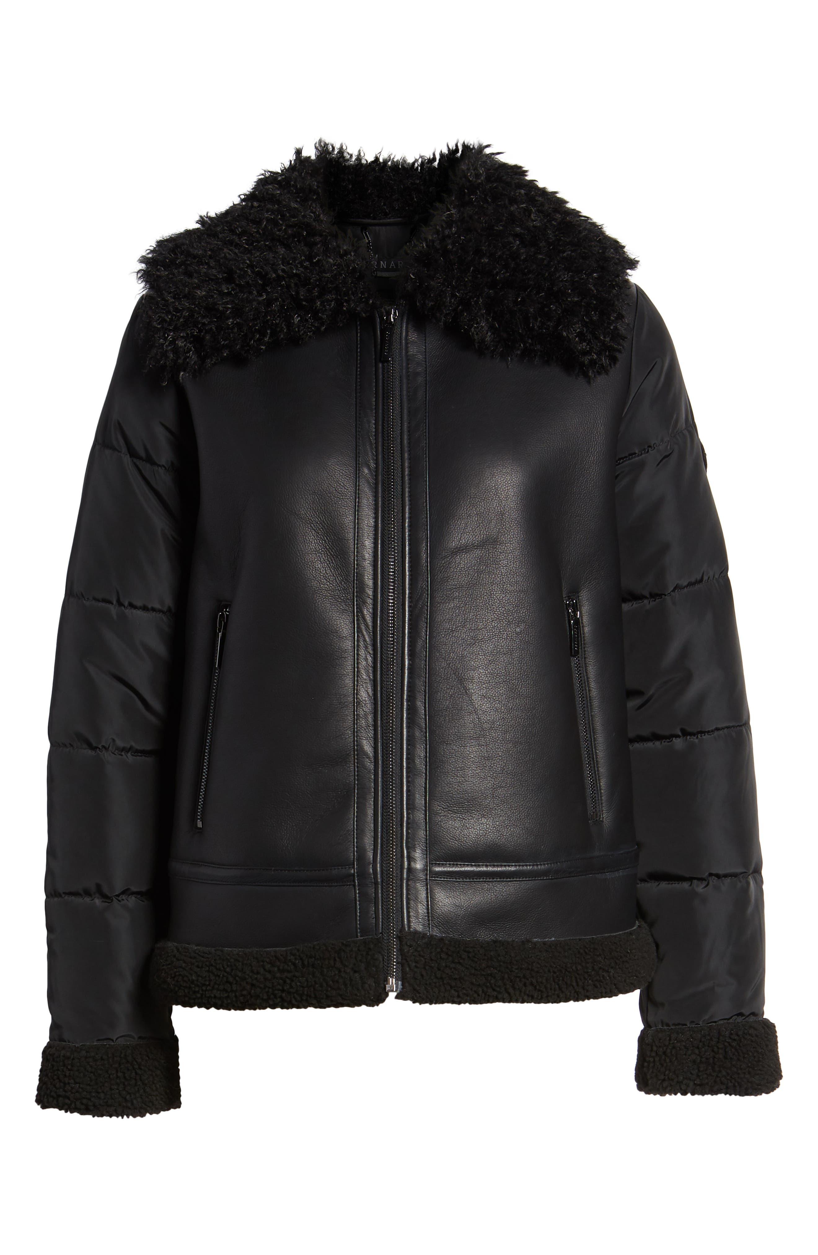 Faux Shearling Hybrid Jacket,                             Alternate thumbnail 6, color,                             BLACK