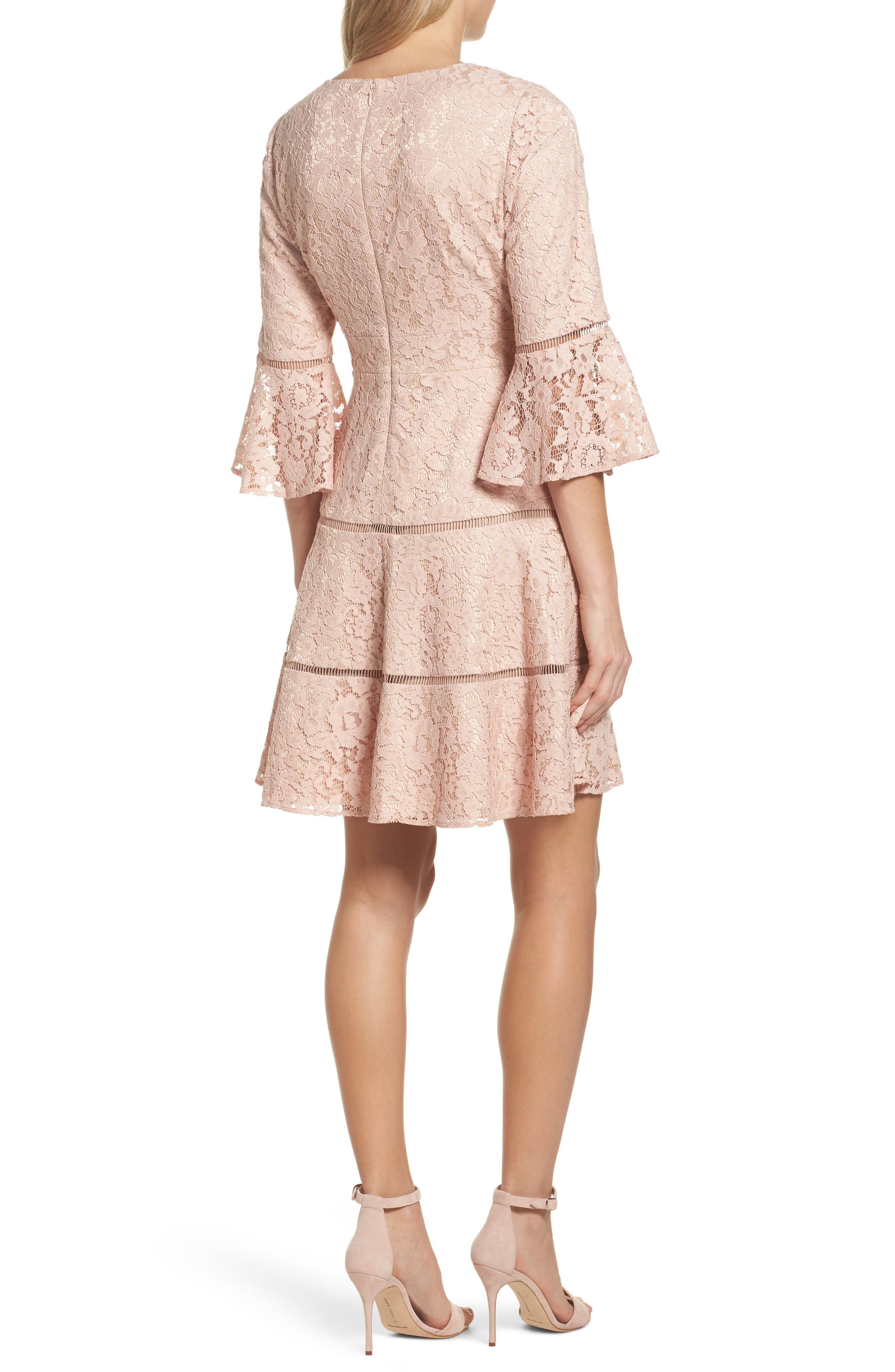 Bell Sleeve Lace Fit & Flare Dress,                             Alternate thumbnail 4, color,