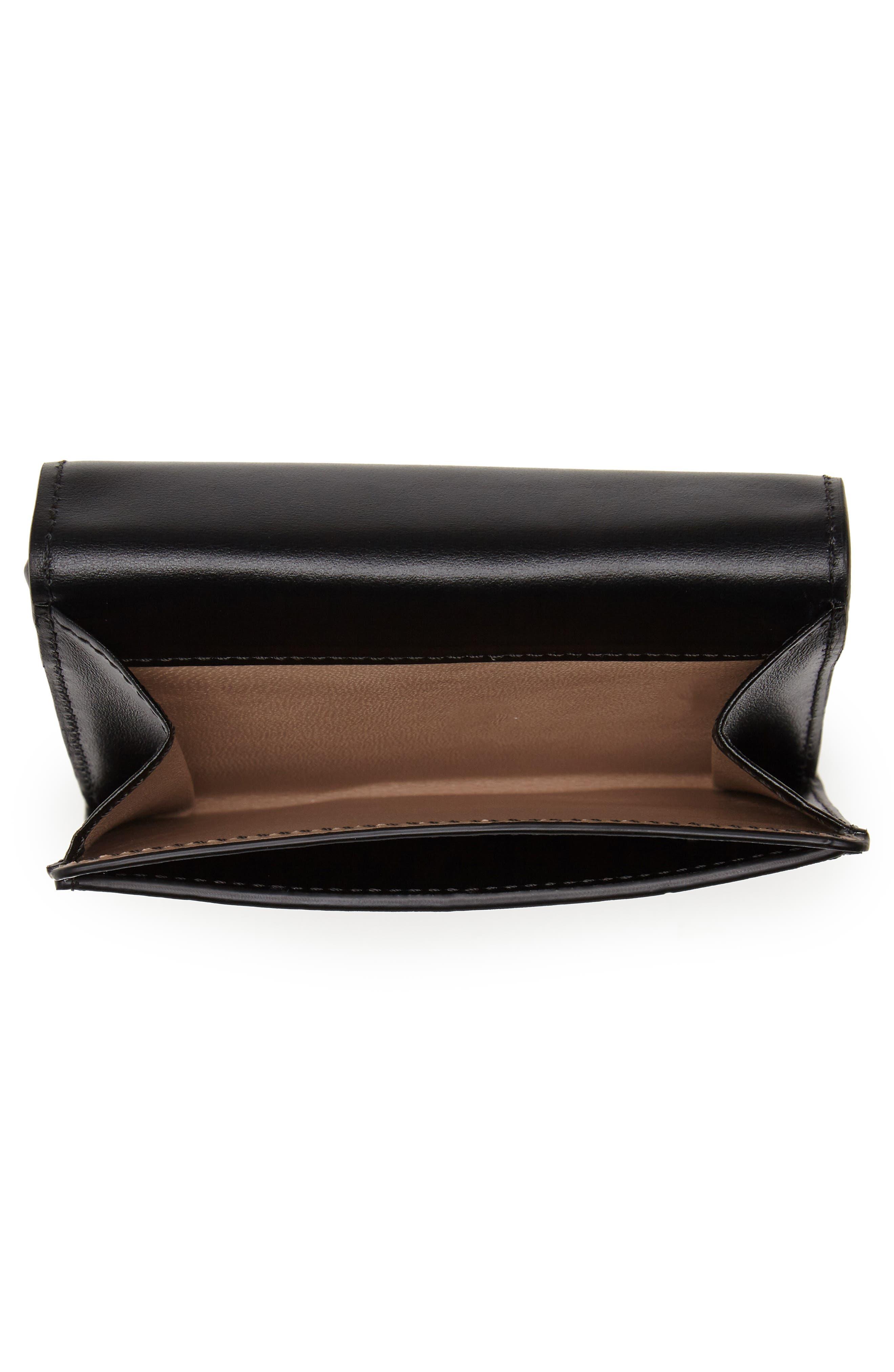 CHLOÉ,                             Square Leather Wallet,                             Alternate thumbnail 2, color,                             BLACK