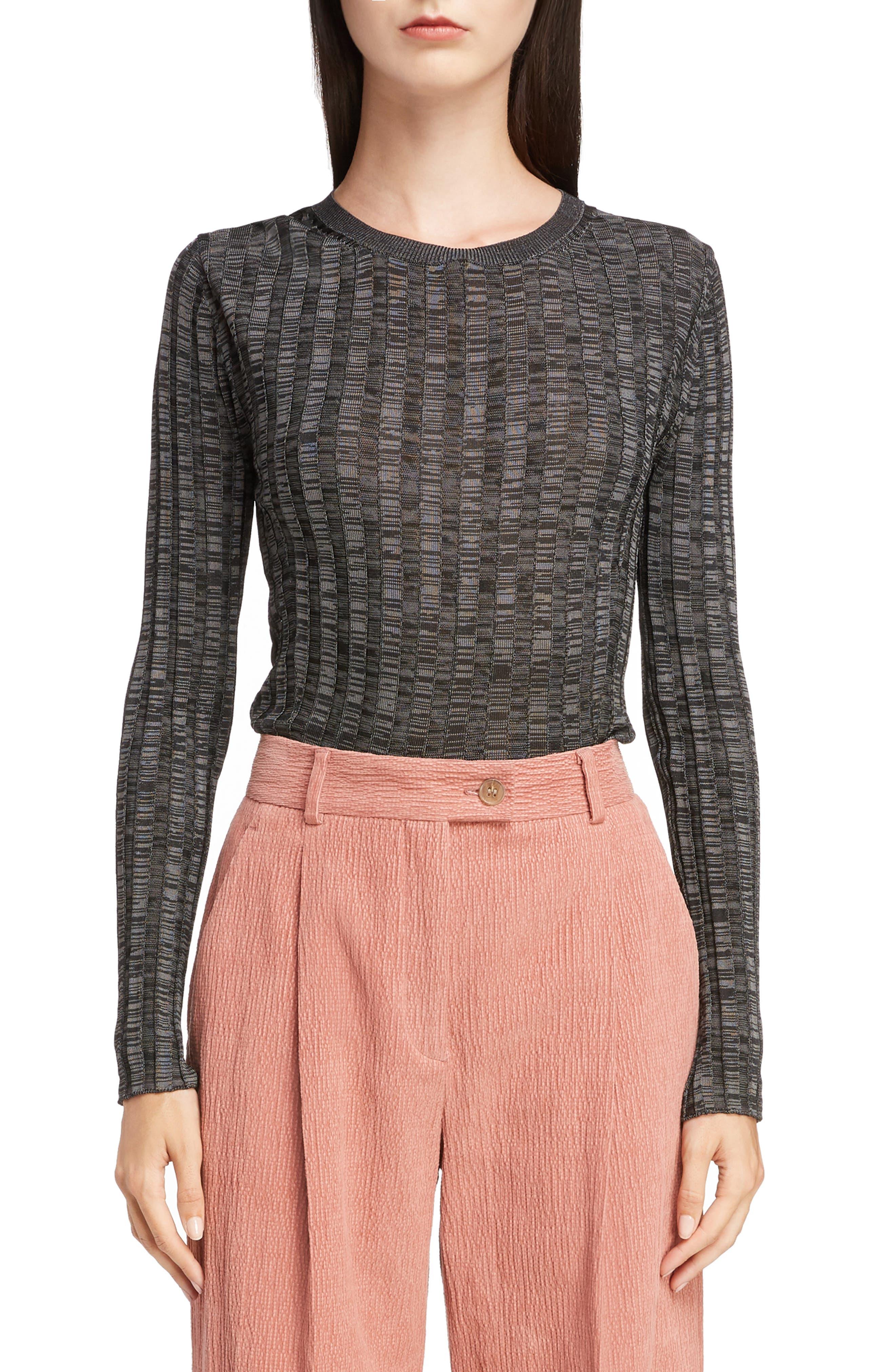 Sitha Ribbed Top,                         Main,                         color, BLACK/ GREY