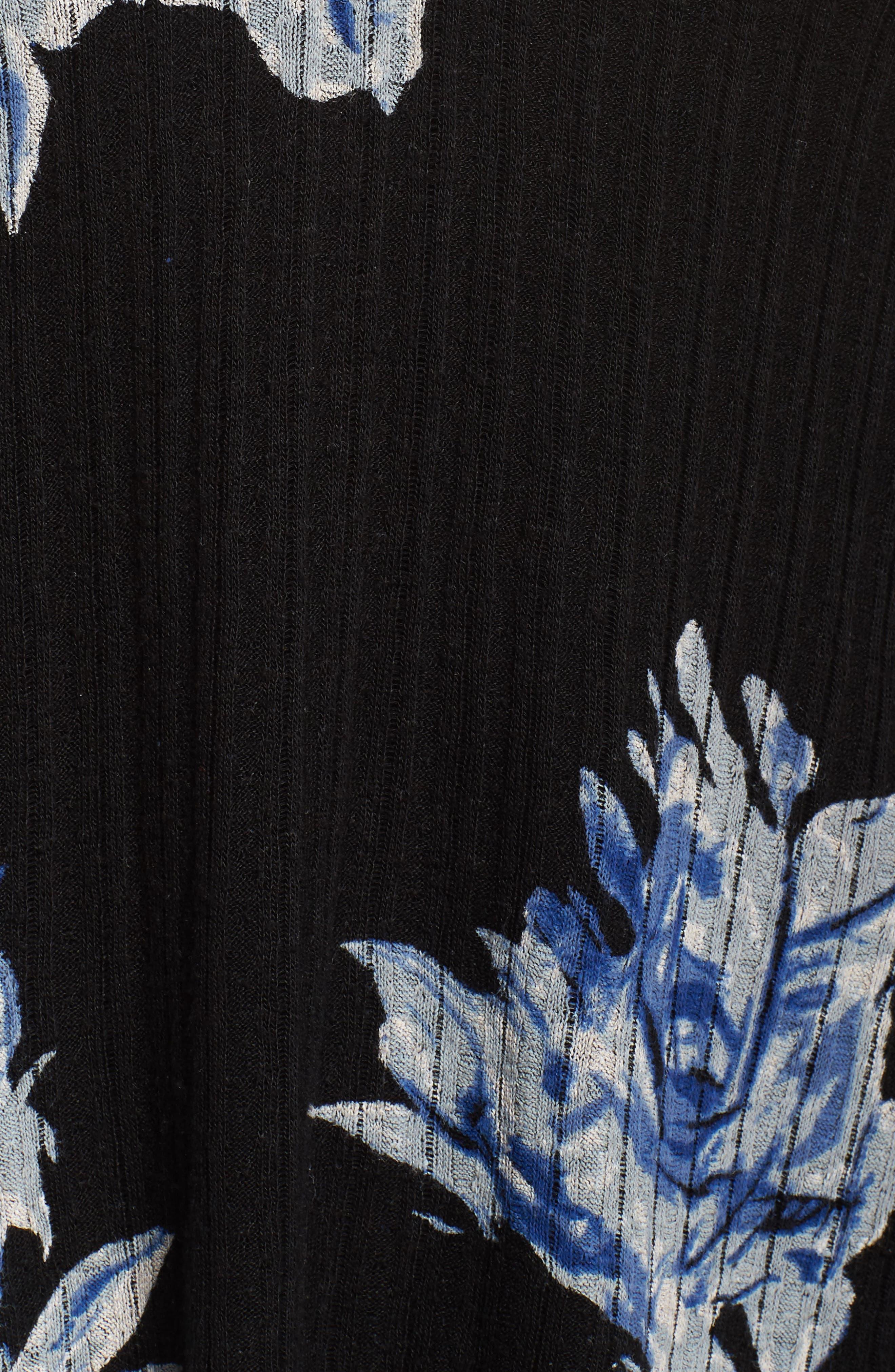 Floral Print Drop Needle Knit Shirt,                             Alternate thumbnail 5, color,