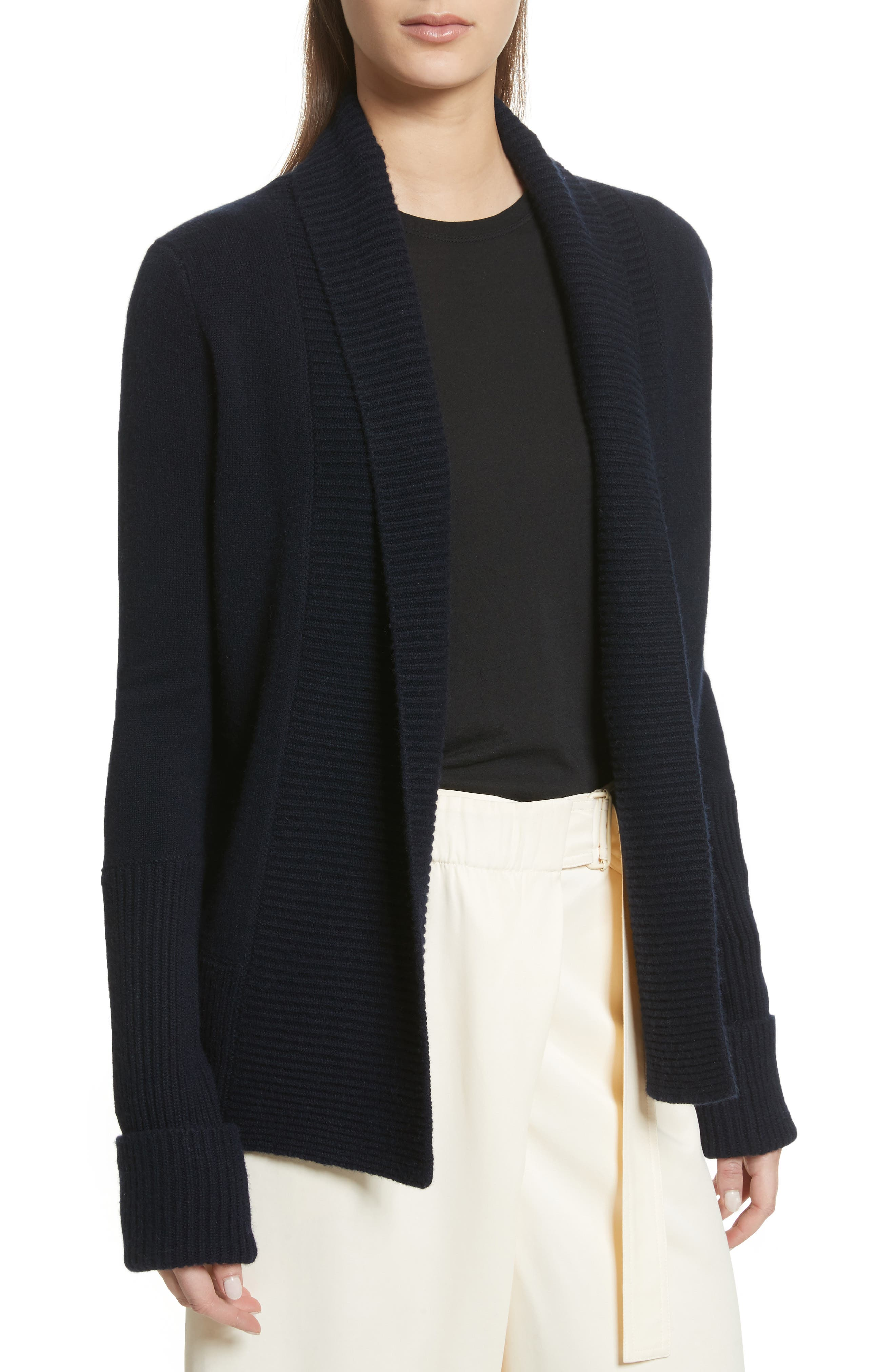 Wide Collar Cashmere Cardigan,                             Main thumbnail 3, color,