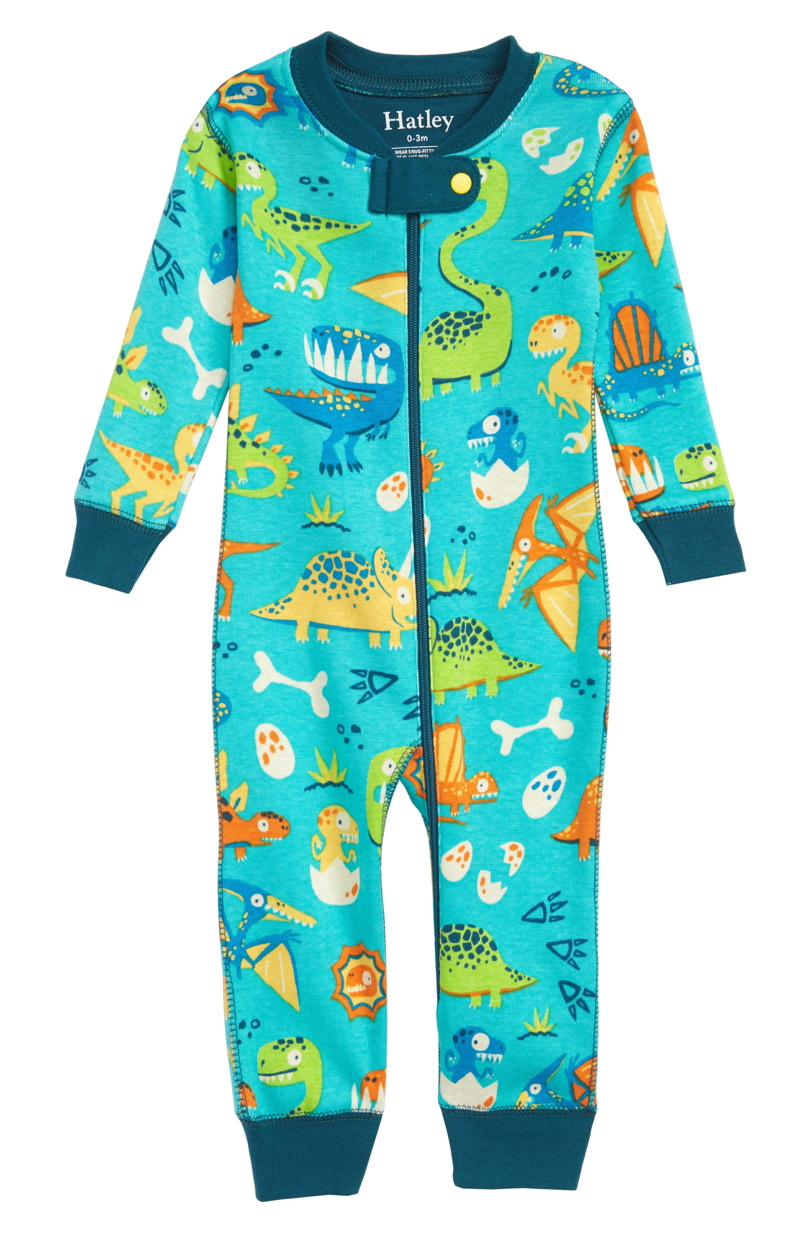 Haltey Organic Cotton Fitted One-Piece Pajamas,                             Main thumbnail 1, color,                             410