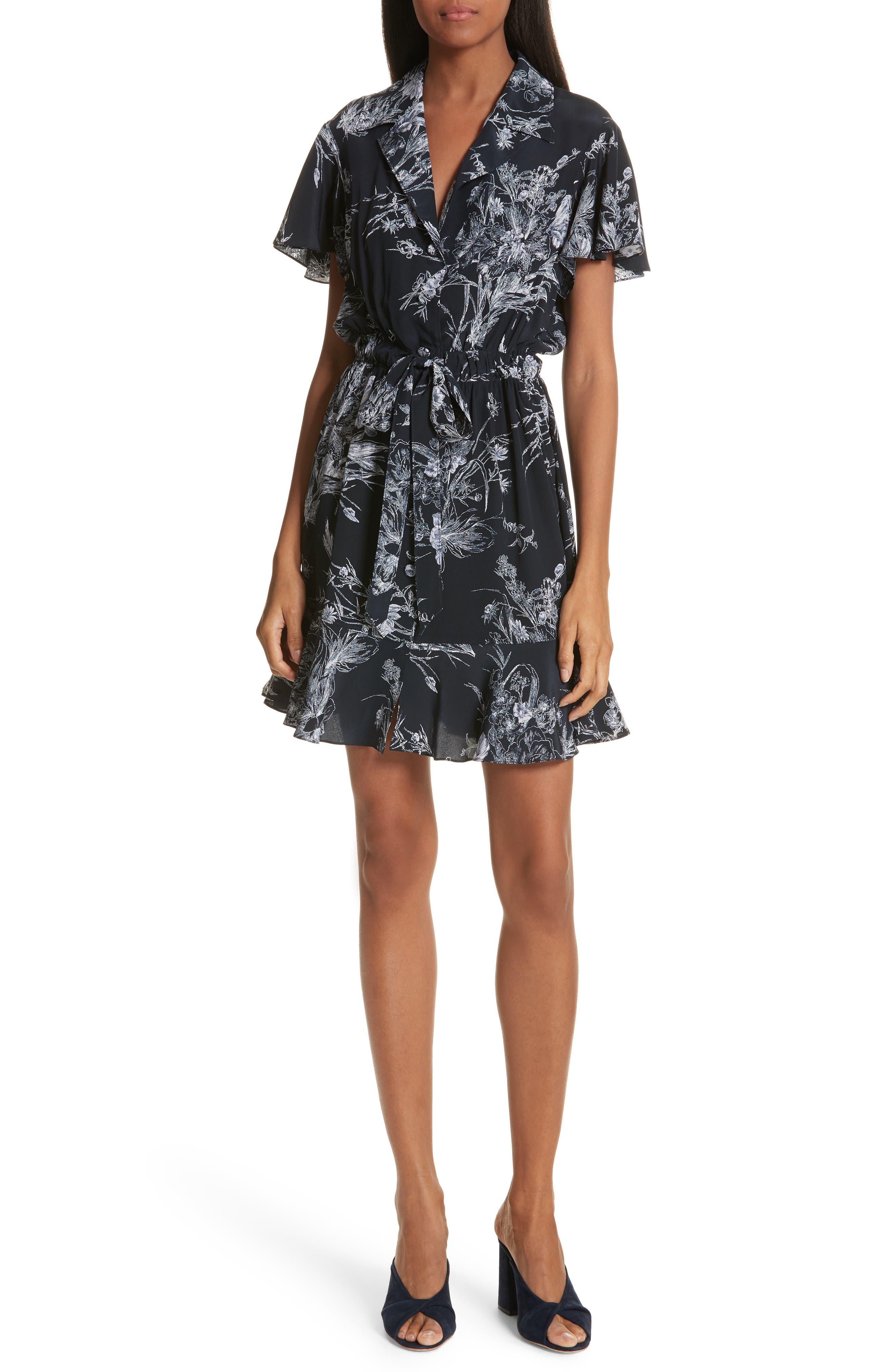 Quincy Flutter Trim Silk Dress,                             Main thumbnail 1, color,                             418