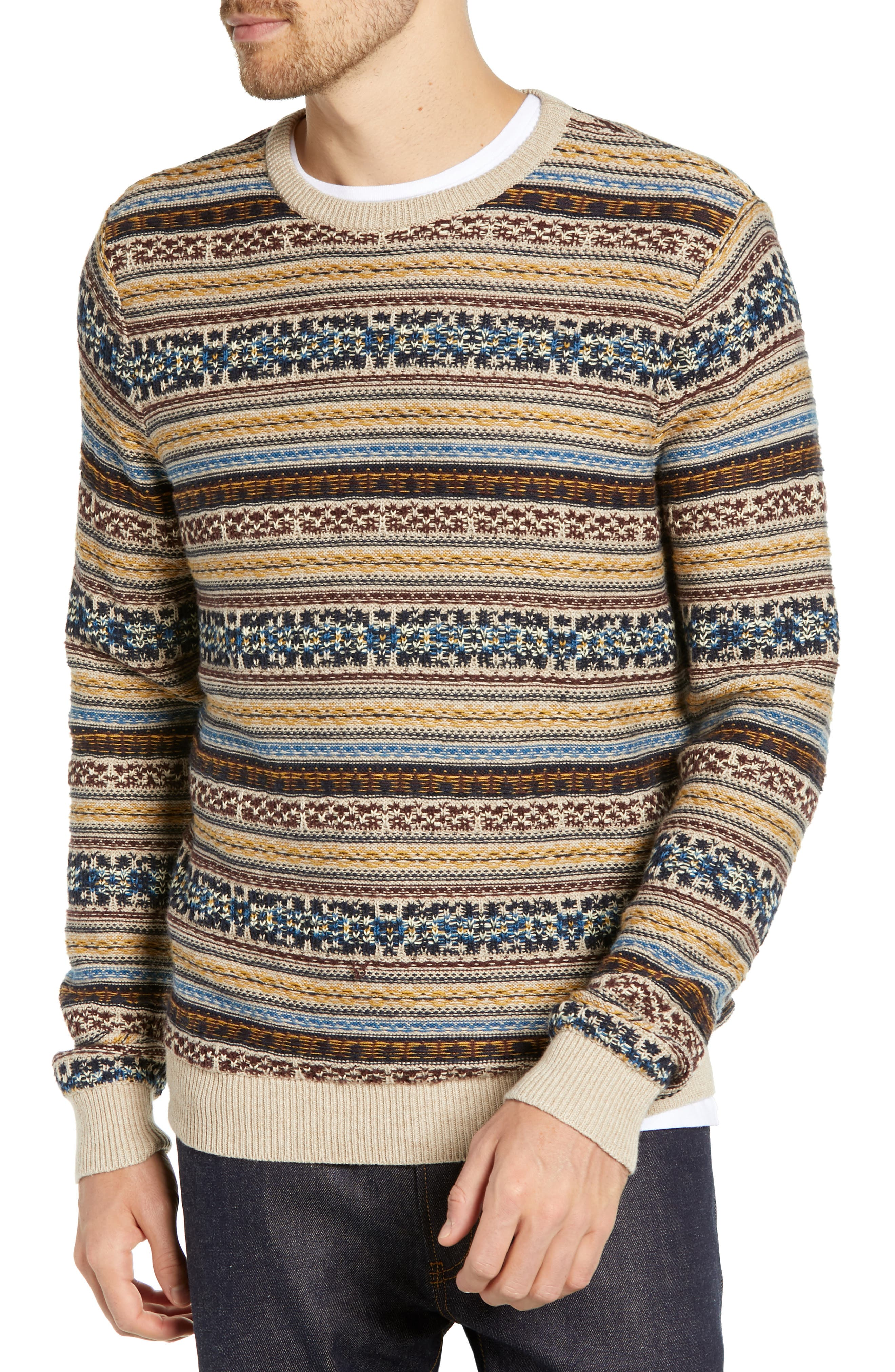 Regular Fit Fair Isle Crewneck Sweater,                         Main,                         color, BROWN SIENA FAIRISLE