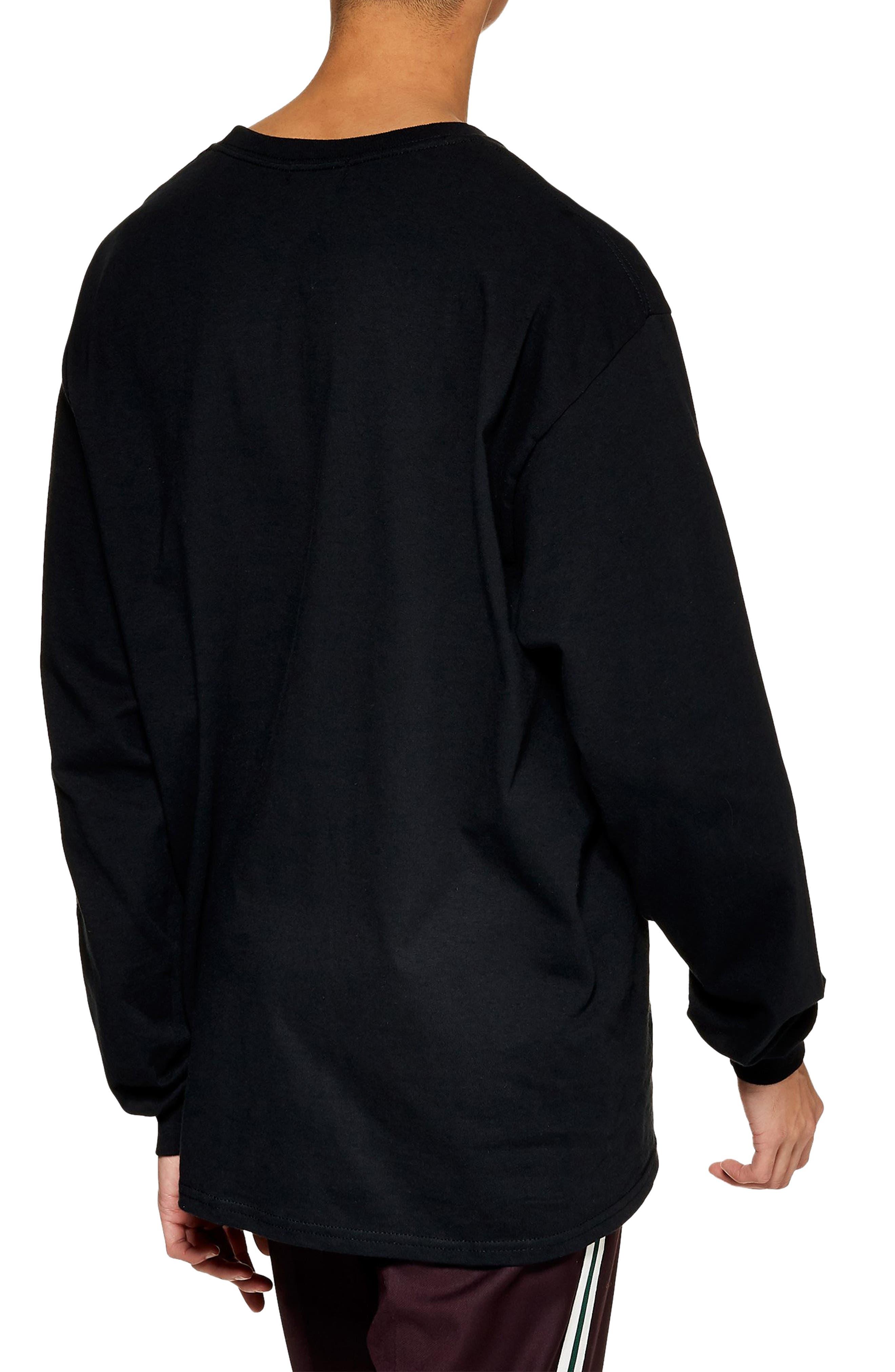 Topman Lost Graphic Long Sleeve T-Shirt, Black
