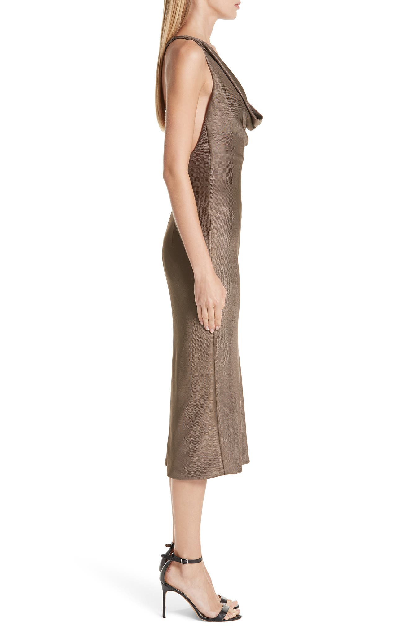 CUSHNIE,                             Cowl Neck Sheath Dress,                             Alternate thumbnail 3, color,                             MINK