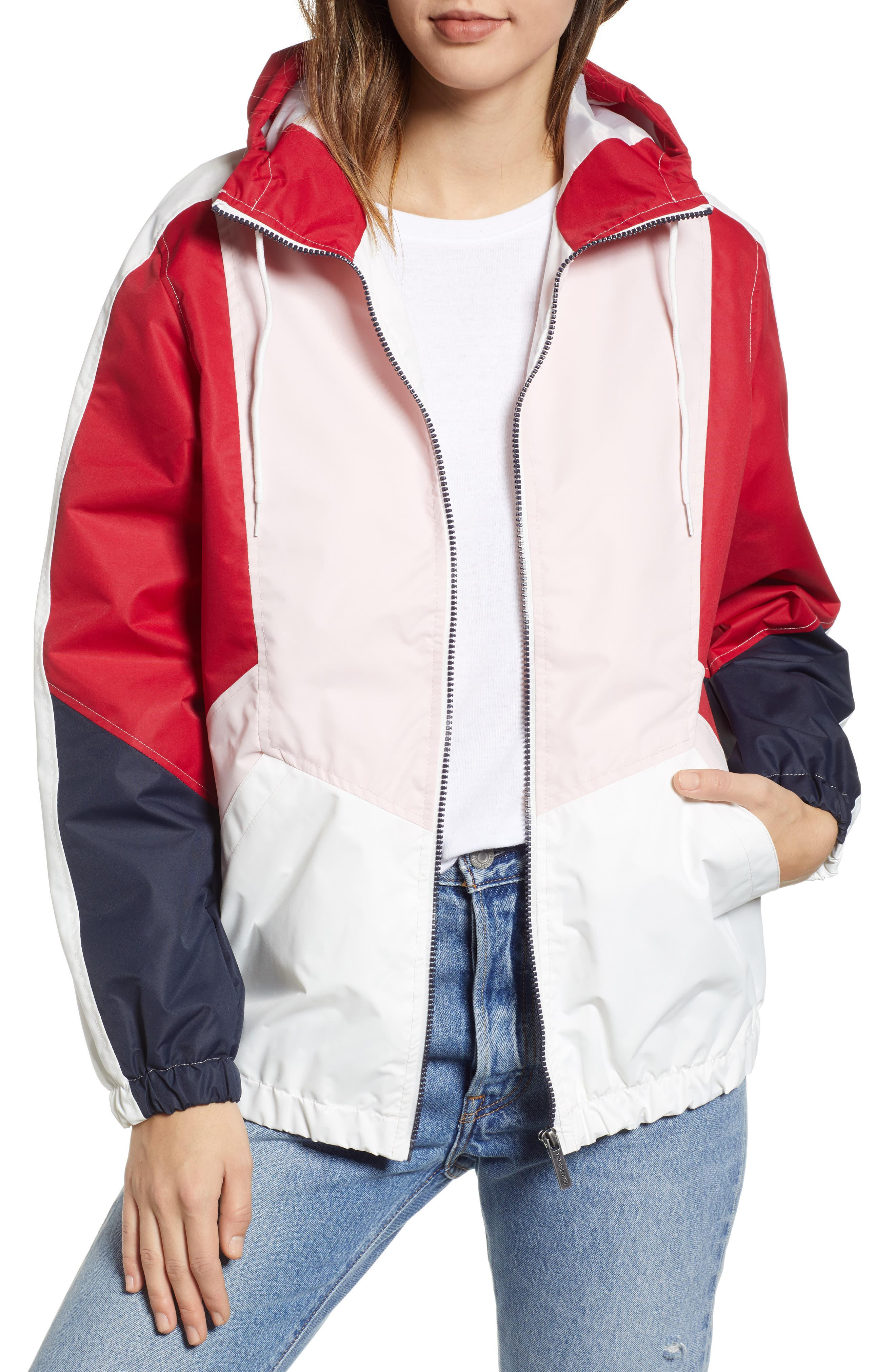 Retro Colorblock Bomber Jacket, Main, color, PINK-RED