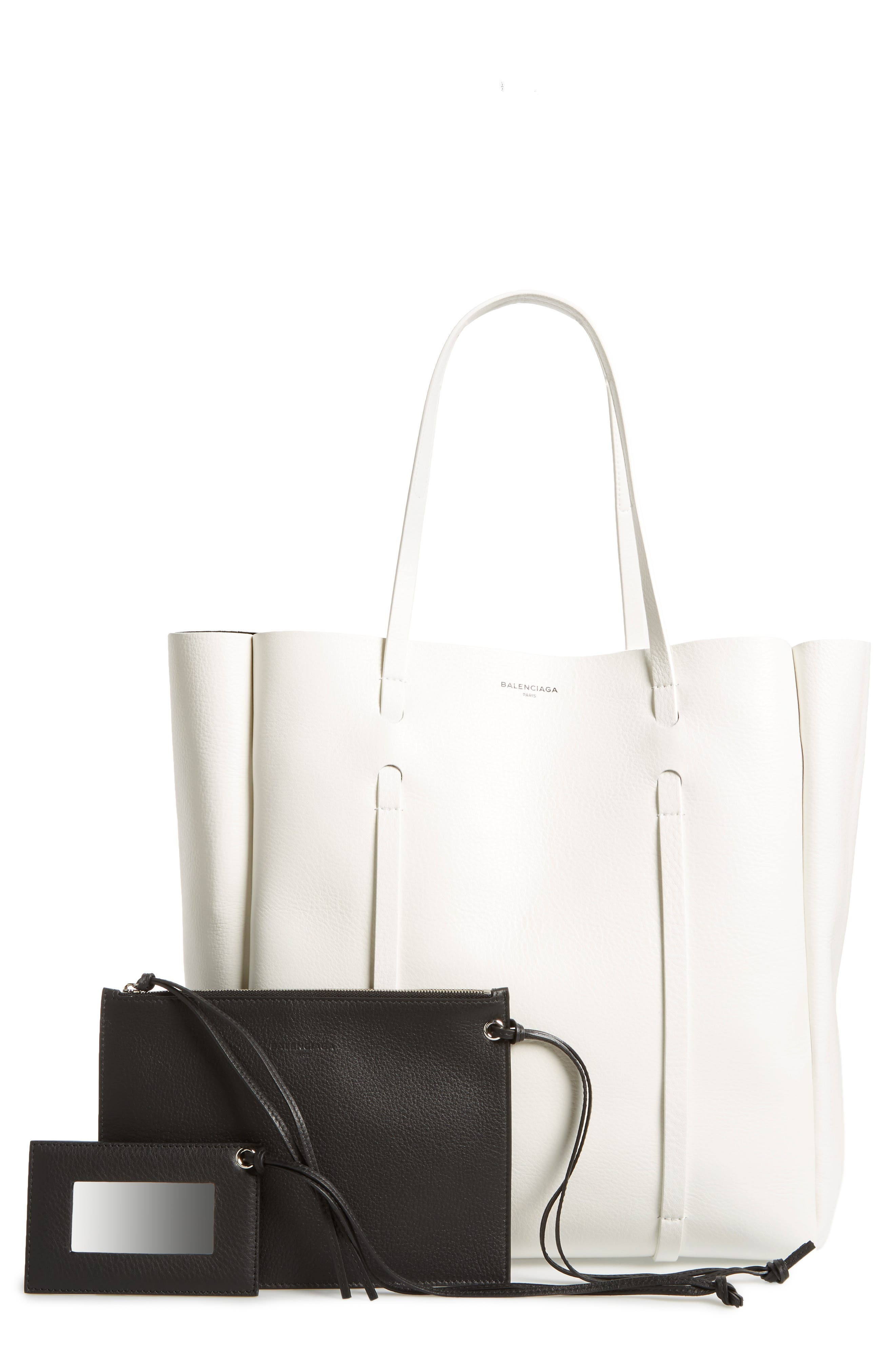 Medium Everyday Calfskin Tote,                         Main,                         color, BLANC OPTIQUE/ NOIC