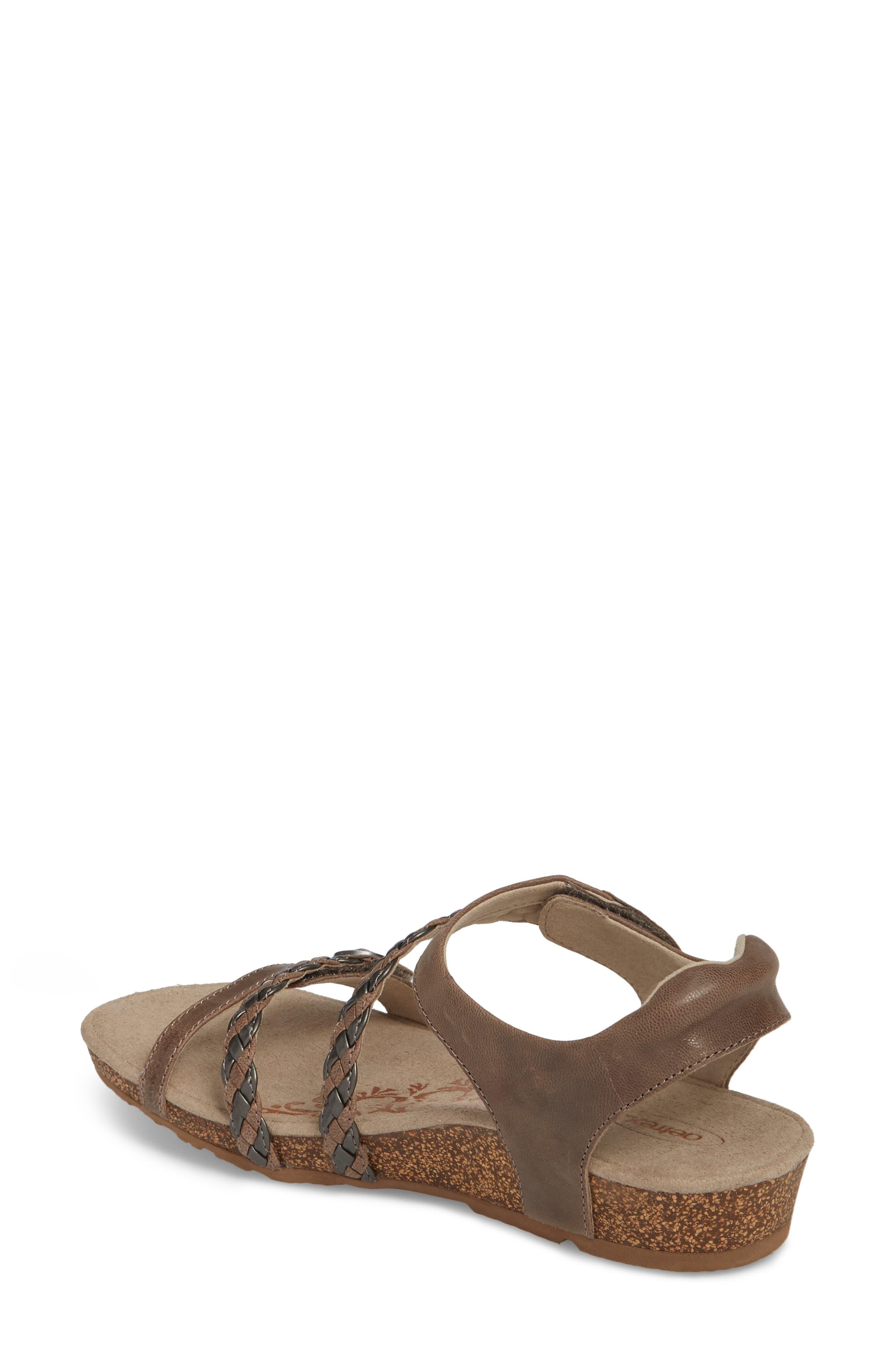 'Jillian' Braided Leather Strap Sandal,                             Alternate thumbnail 2, color,                             GREY LEATHER