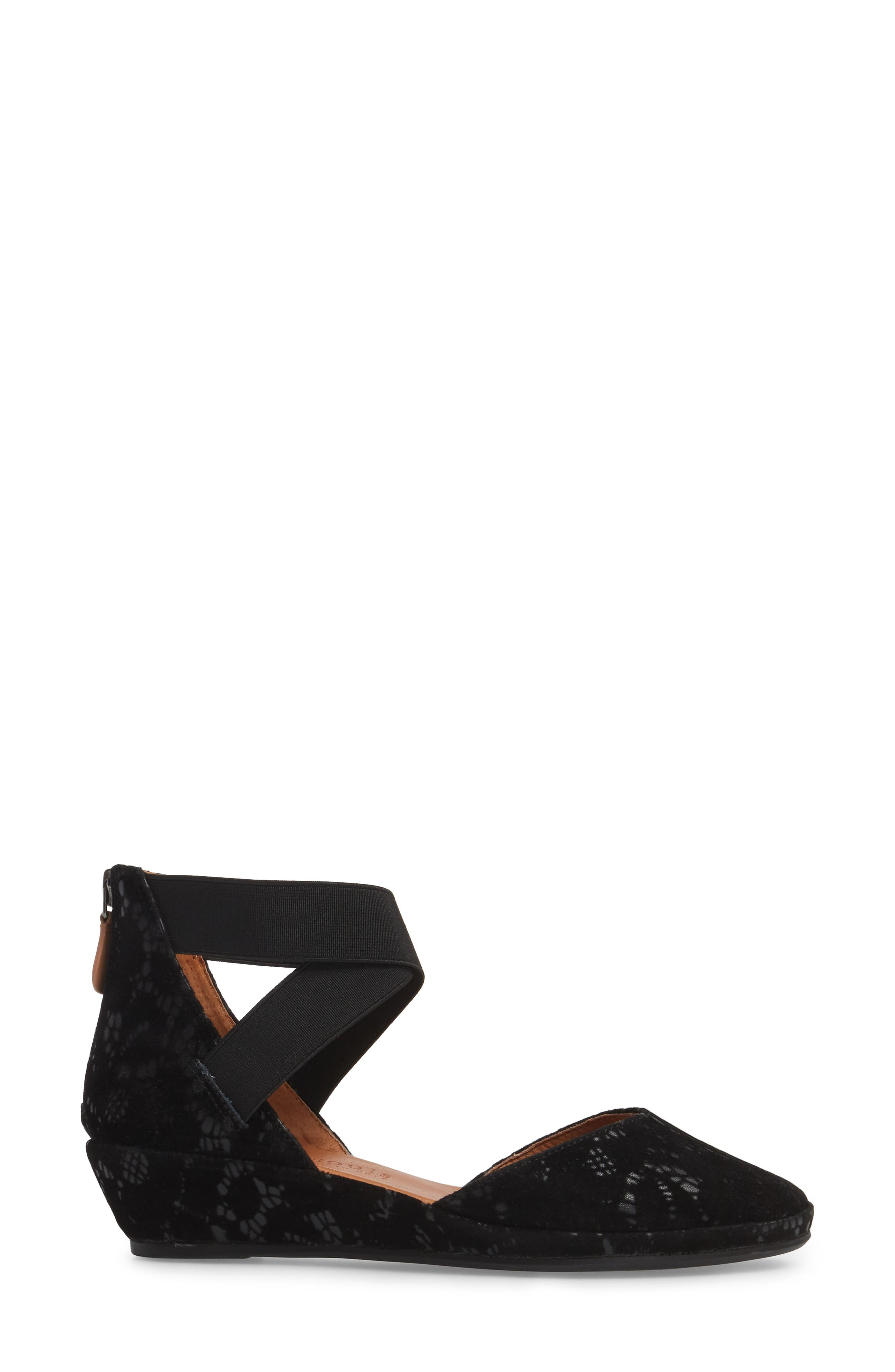 by Kenneth Cole Noa Cross Strap Wedge,                             Alternate thumbnail 3, color,                             BLACK TEXTURED LEATHER