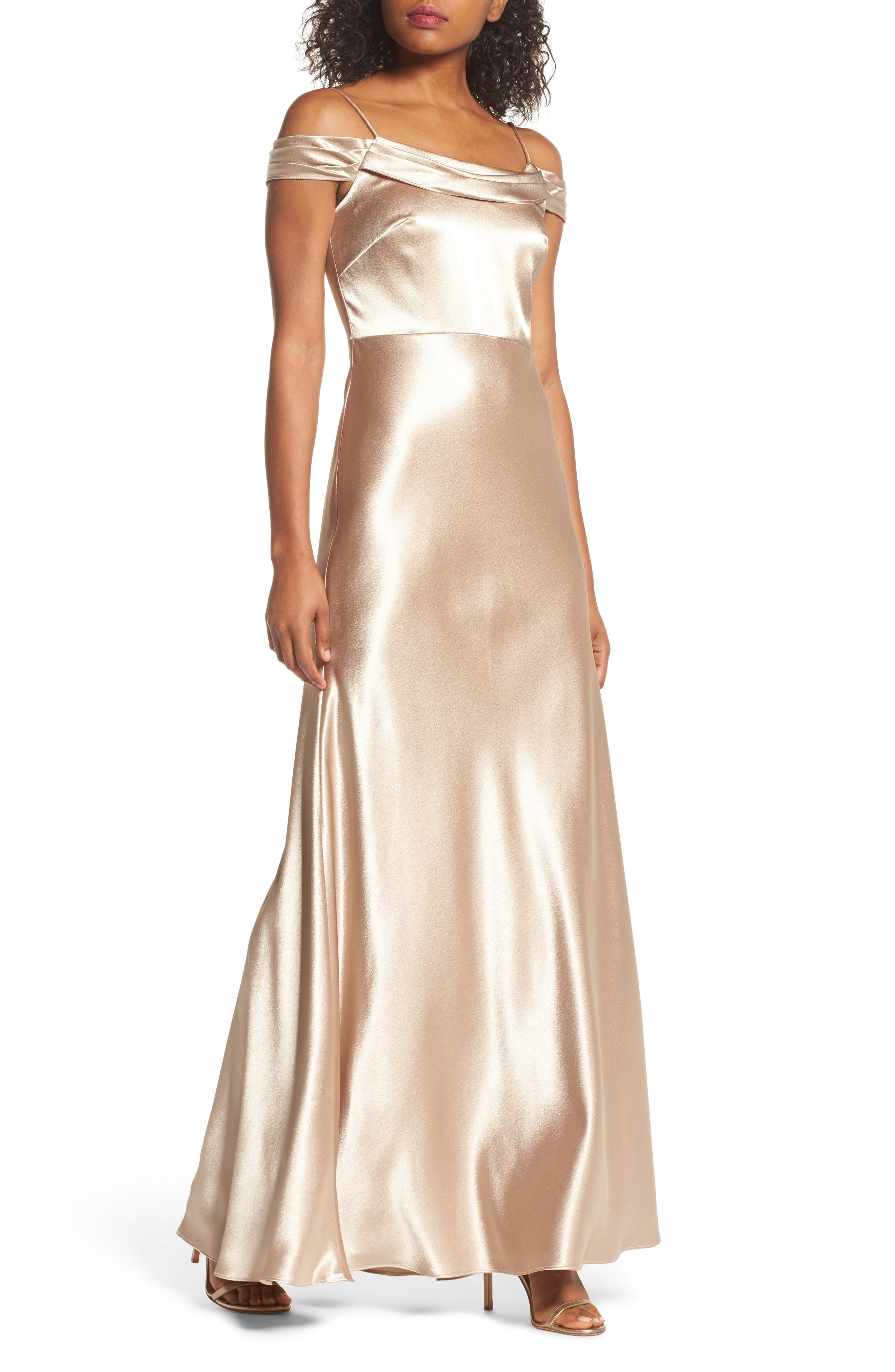 Serene Satin Off the Shoulder Gown,                             Main thumbnail 1, color,                             LATTE