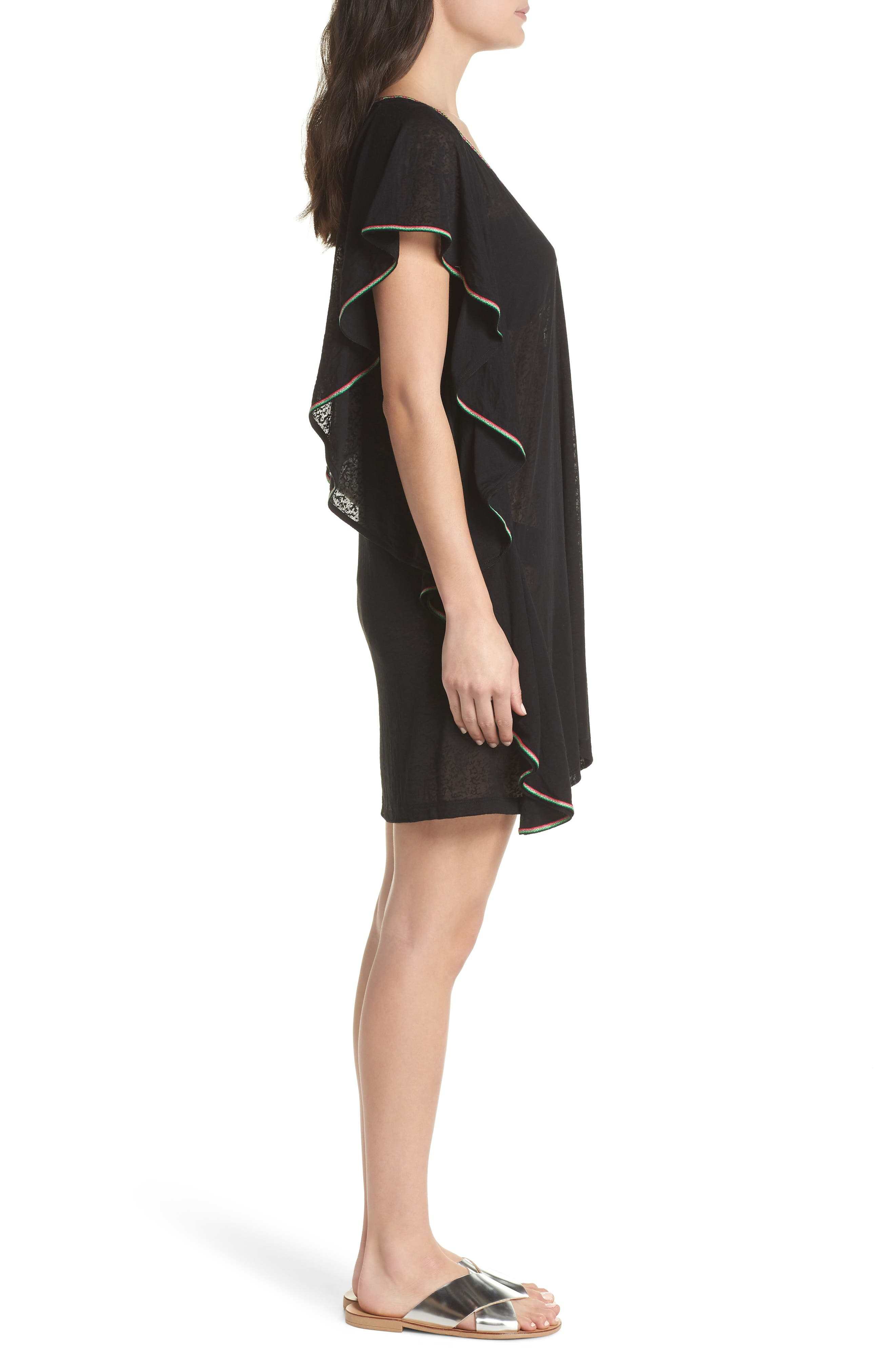 Flare Cover-Up Minidress,                             Alternate thumbnail 3, color,                             001