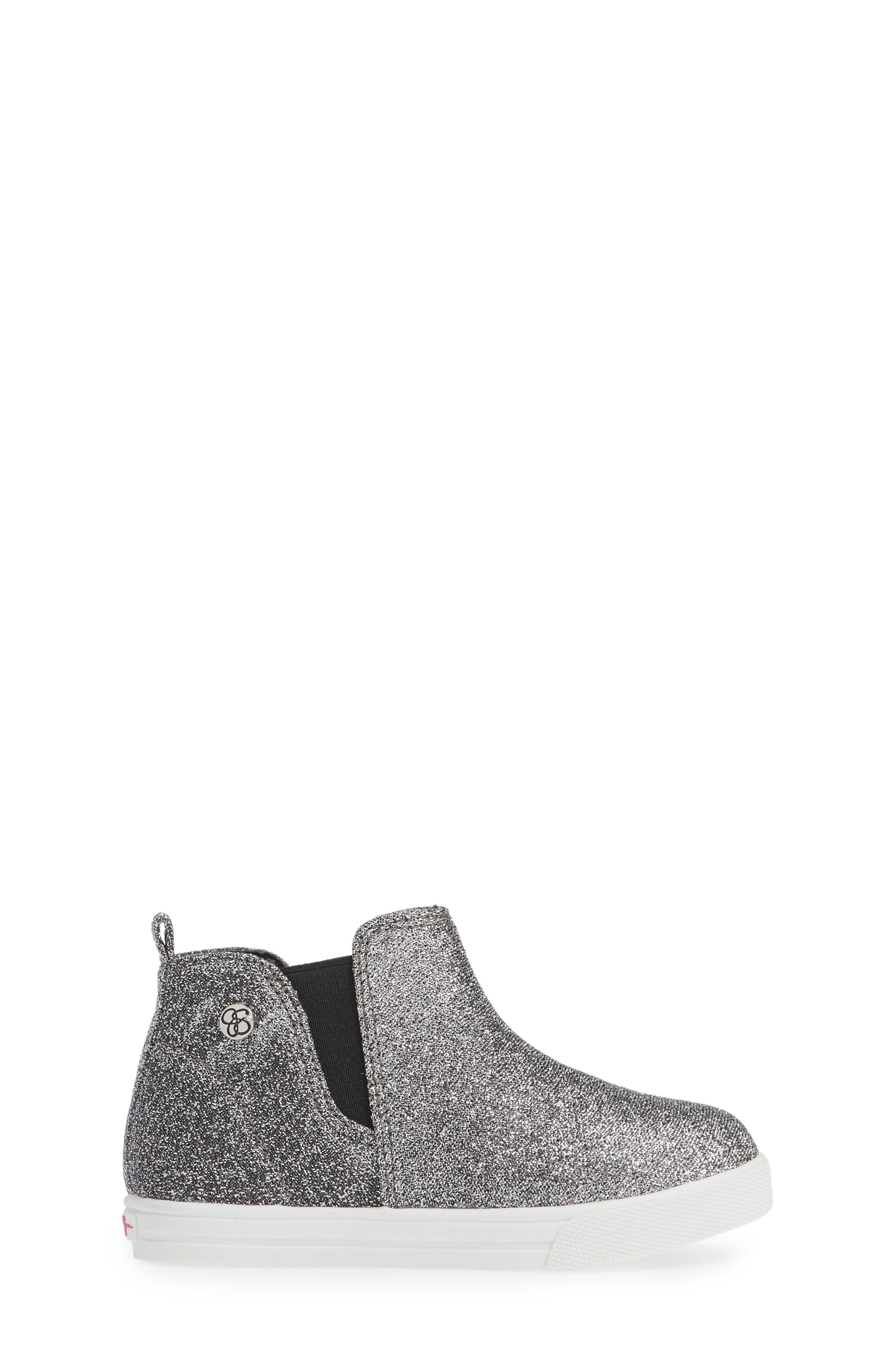 Glitter Sneaker Bootie,                             Alternate thumbnail 3, color,                             PEWTER STRETCH LAME