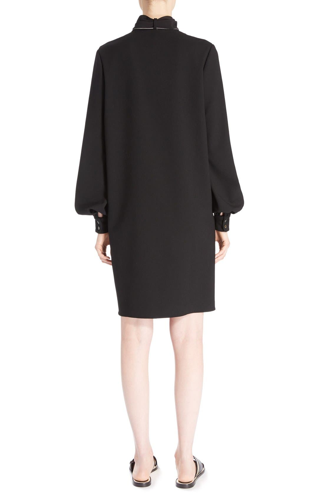 Wool Crepe Dress with Detachable Scarf,                             Alternate thumbnail 3, color,                             010