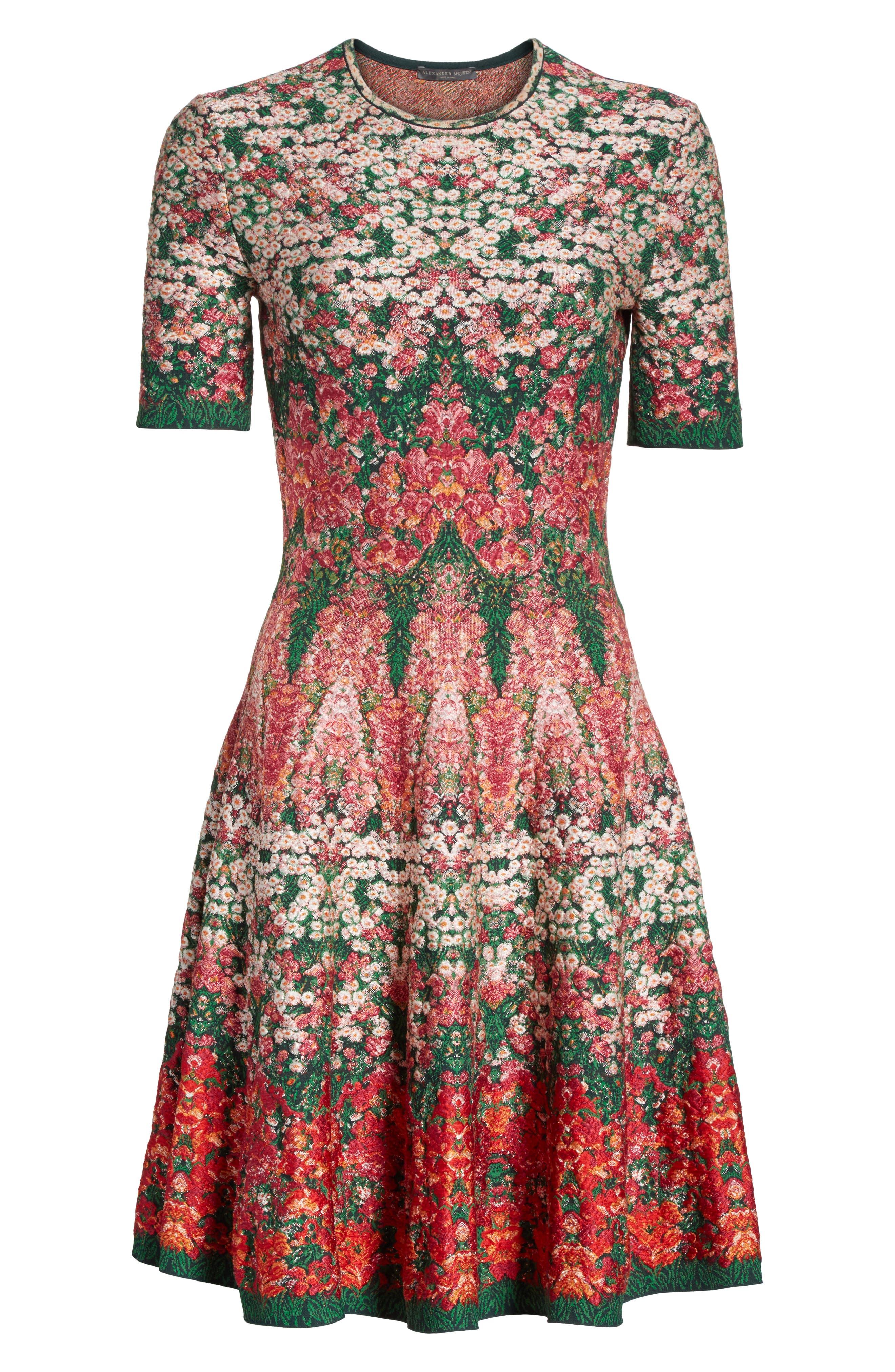 Floral Jacquard Knit Fit & Flare Dress,                             Alternate thumbnail 6, color,                             608