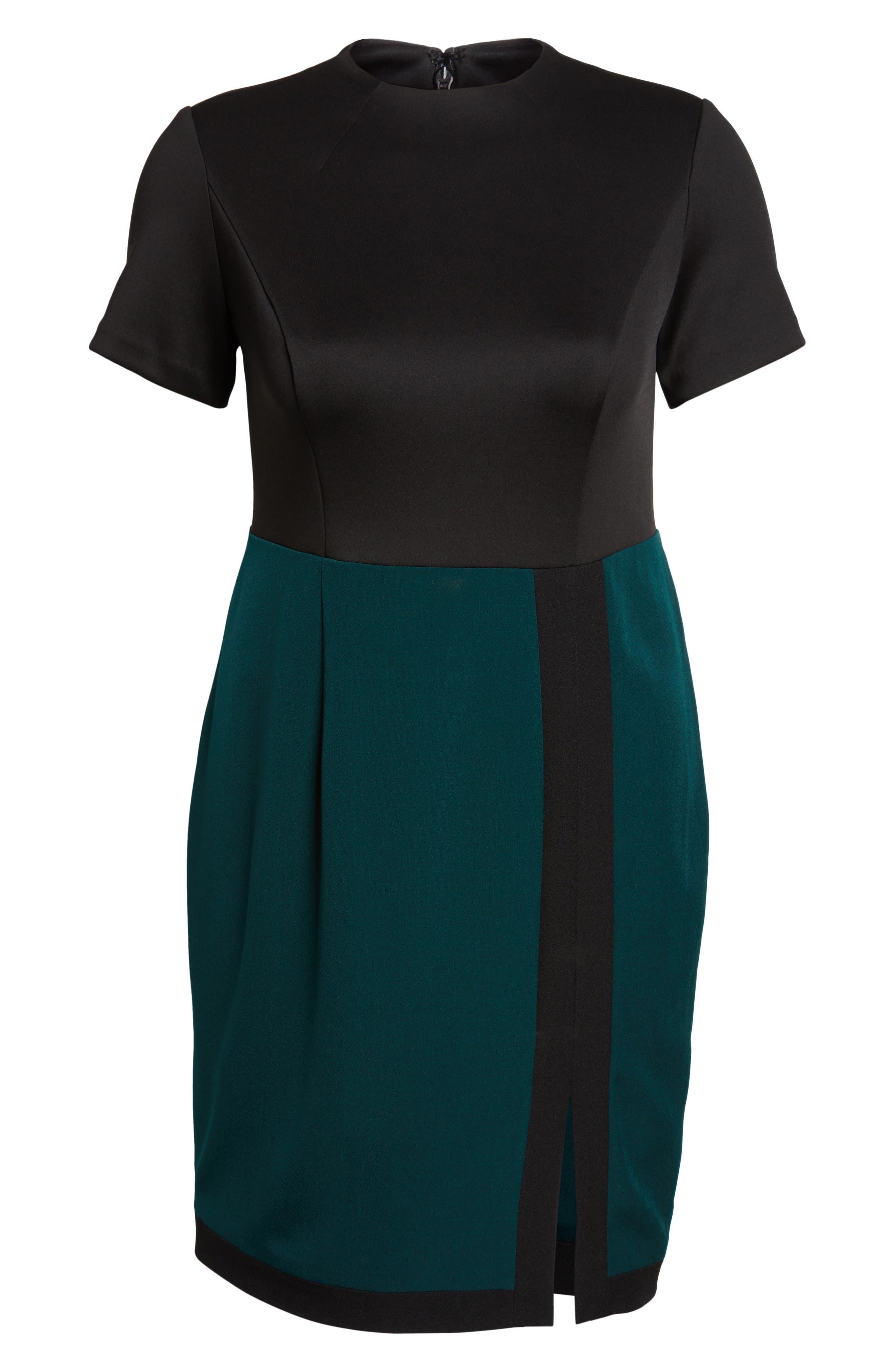 Scuba & Crepe Sheath Dress,                             Alternate thumbnail 6, color,                             303