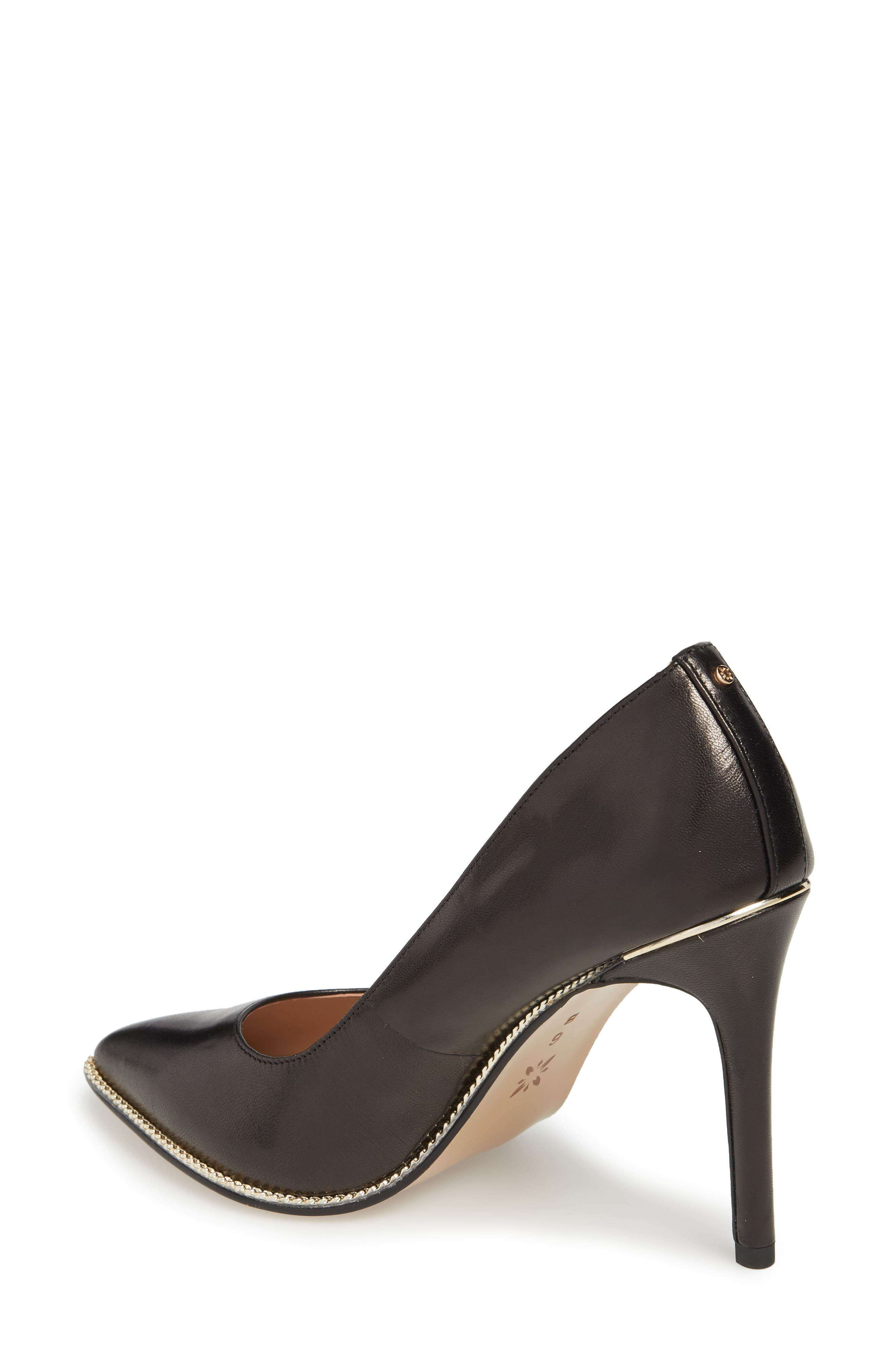 Harleigh Pointy Toe Pump,                             Alternate thumbnail 2, color,                             BLACK LEATHER