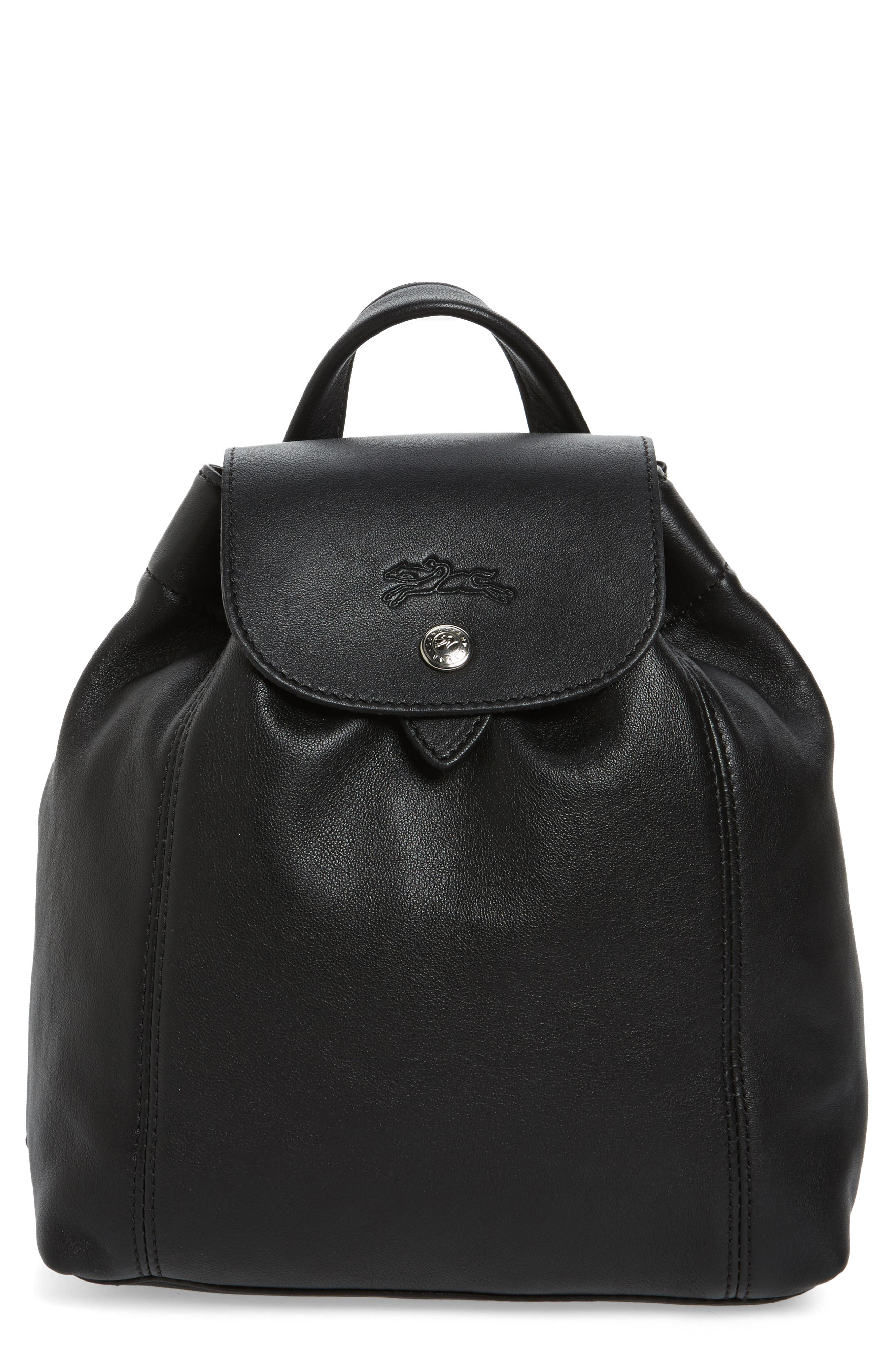 Extra Small Le Pliage Cuir Backpack,                             Main thumbnail 1, color,                             BLACK