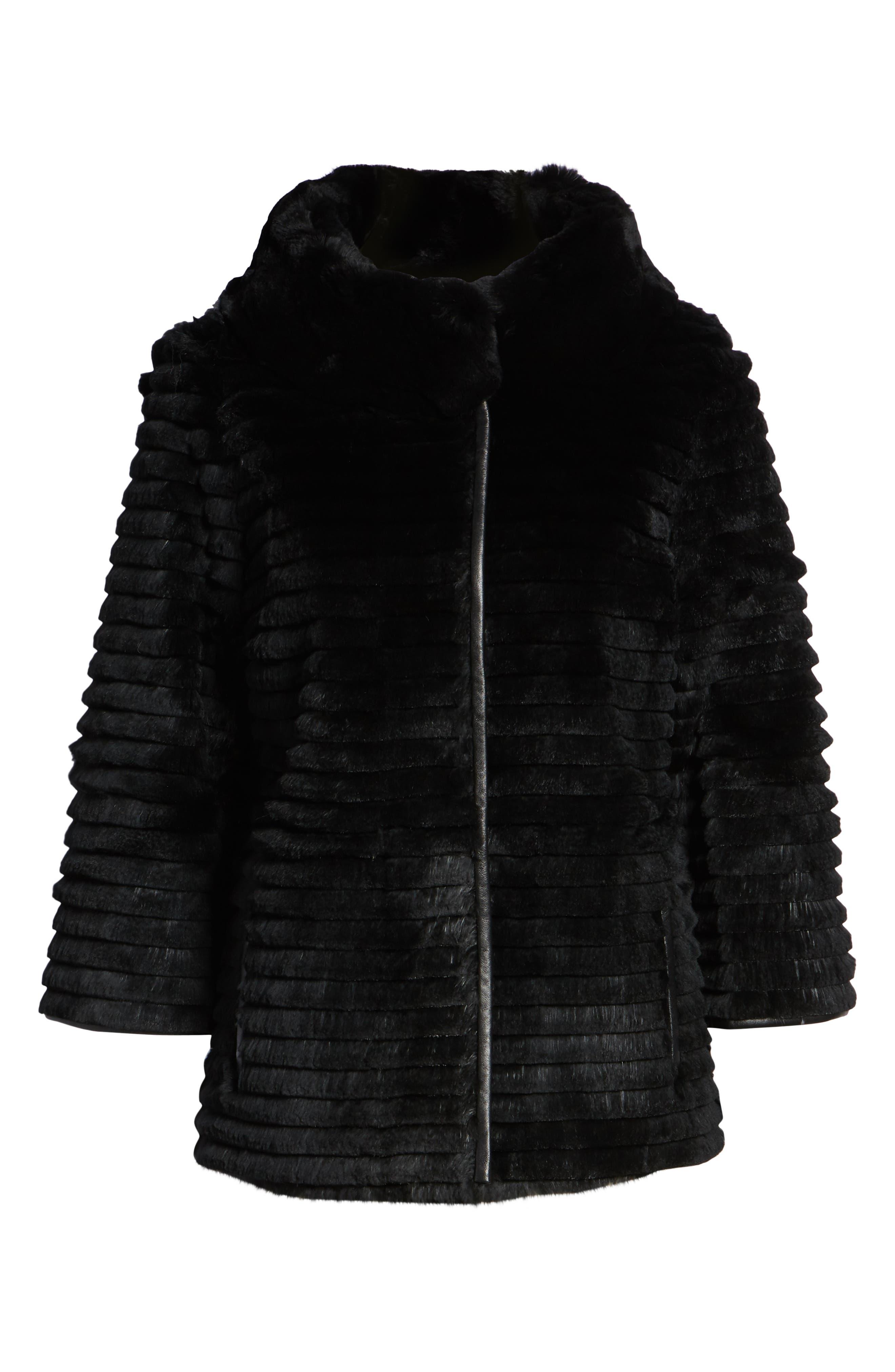 Genuine Rex Rabbit Fur Crop Jacket,                             Alternate thumbnail 6, color,                             BLACK