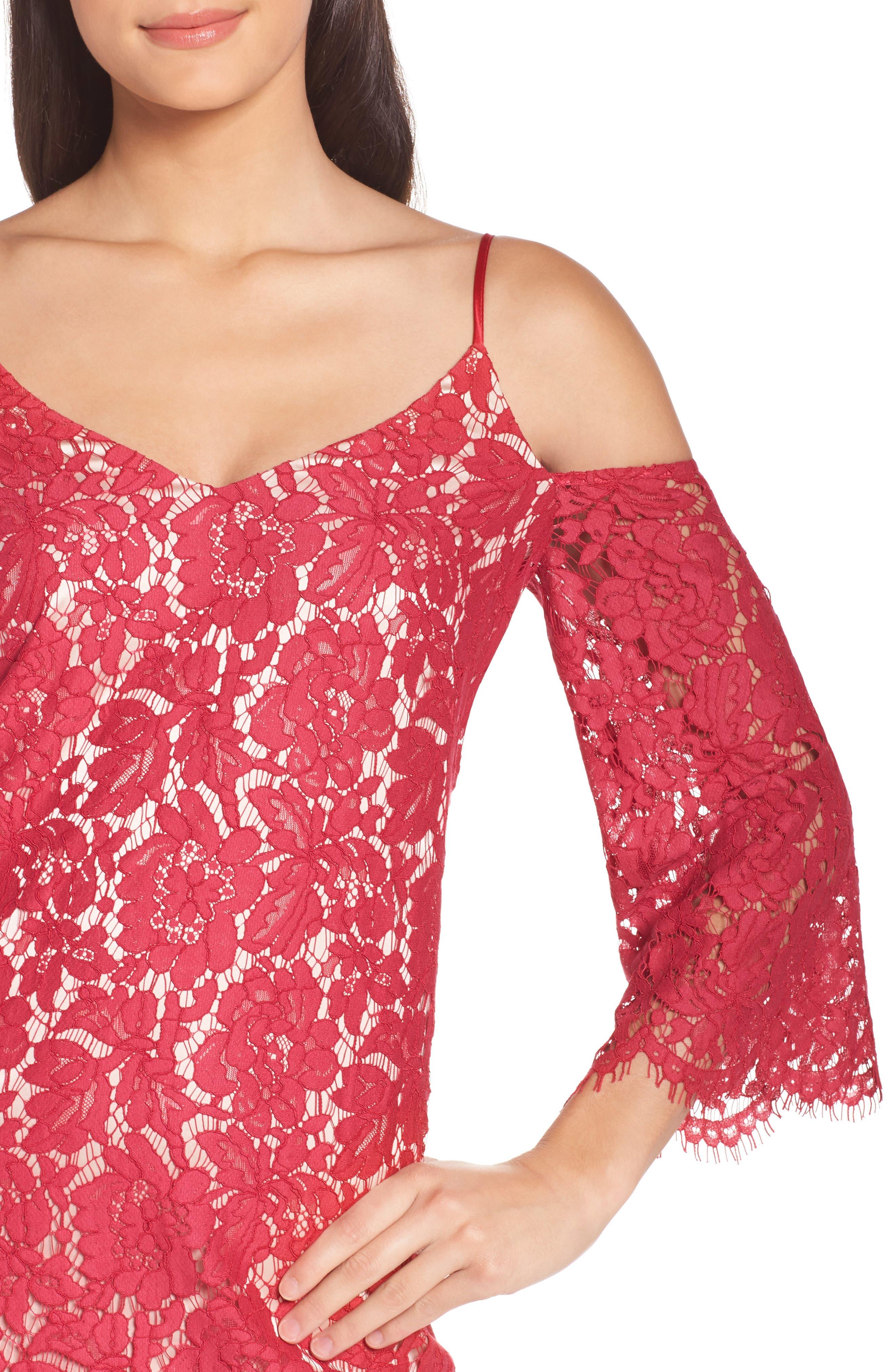 Cold Shoulder Lace Shift Dress,                             Alternate thumbnail 4, color,                             601