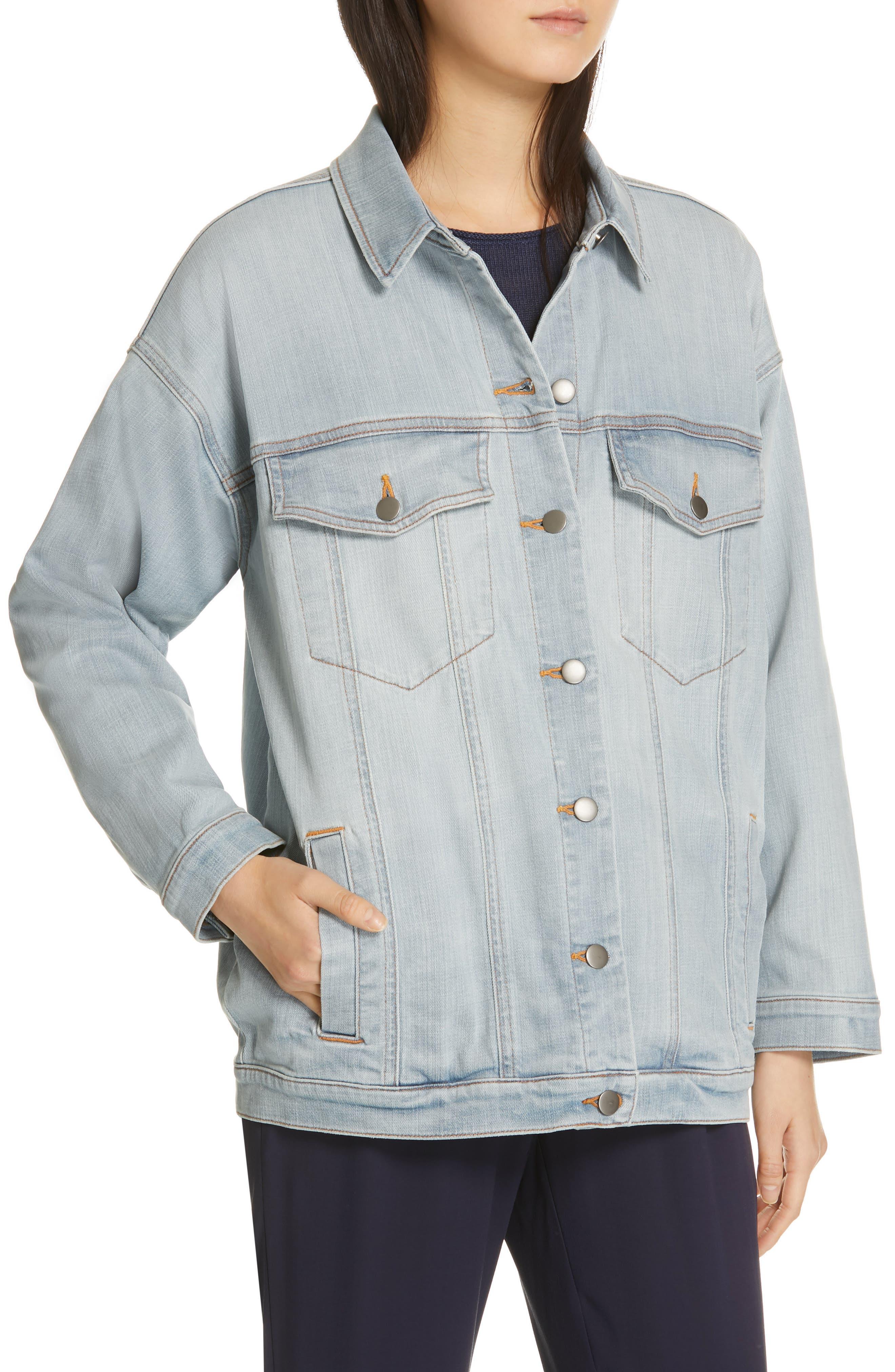 Oversize Stretch Organic Cotton Denim Jacket,                             Alternate thumbnail 4, color,                             ICE BLUE