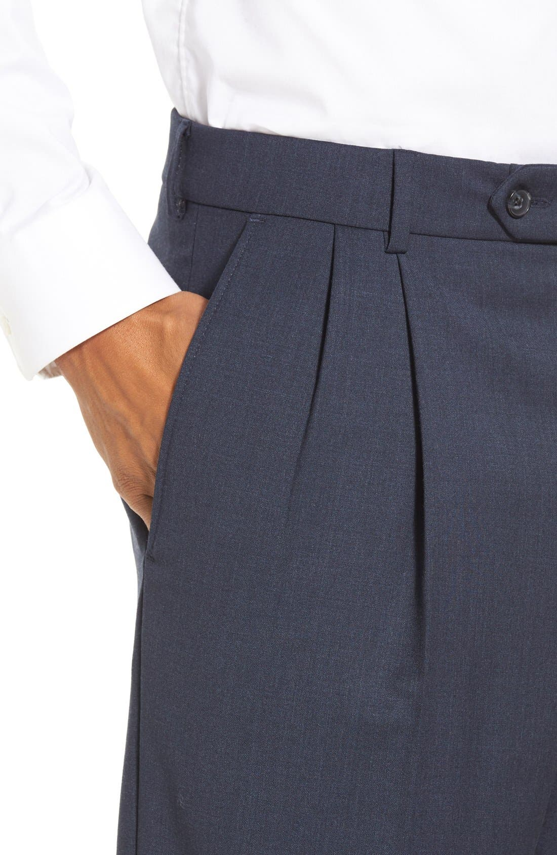 Pleated Solid Wool Trousers,                             Alternate thumbnail 52, color,